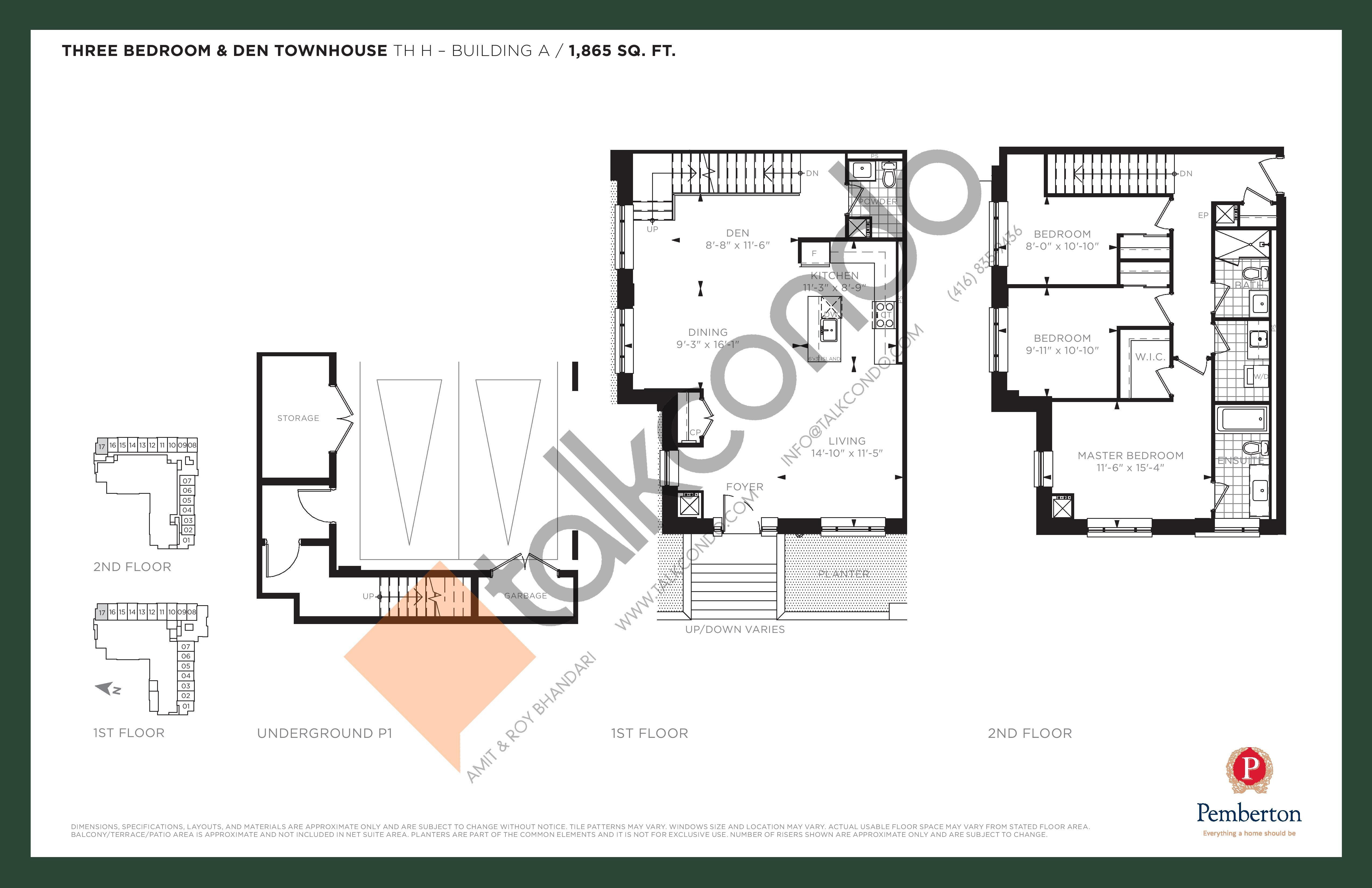 TH H - Building A Floor Plan at 9th & Main Condos + Towns - 1865 sq.ft