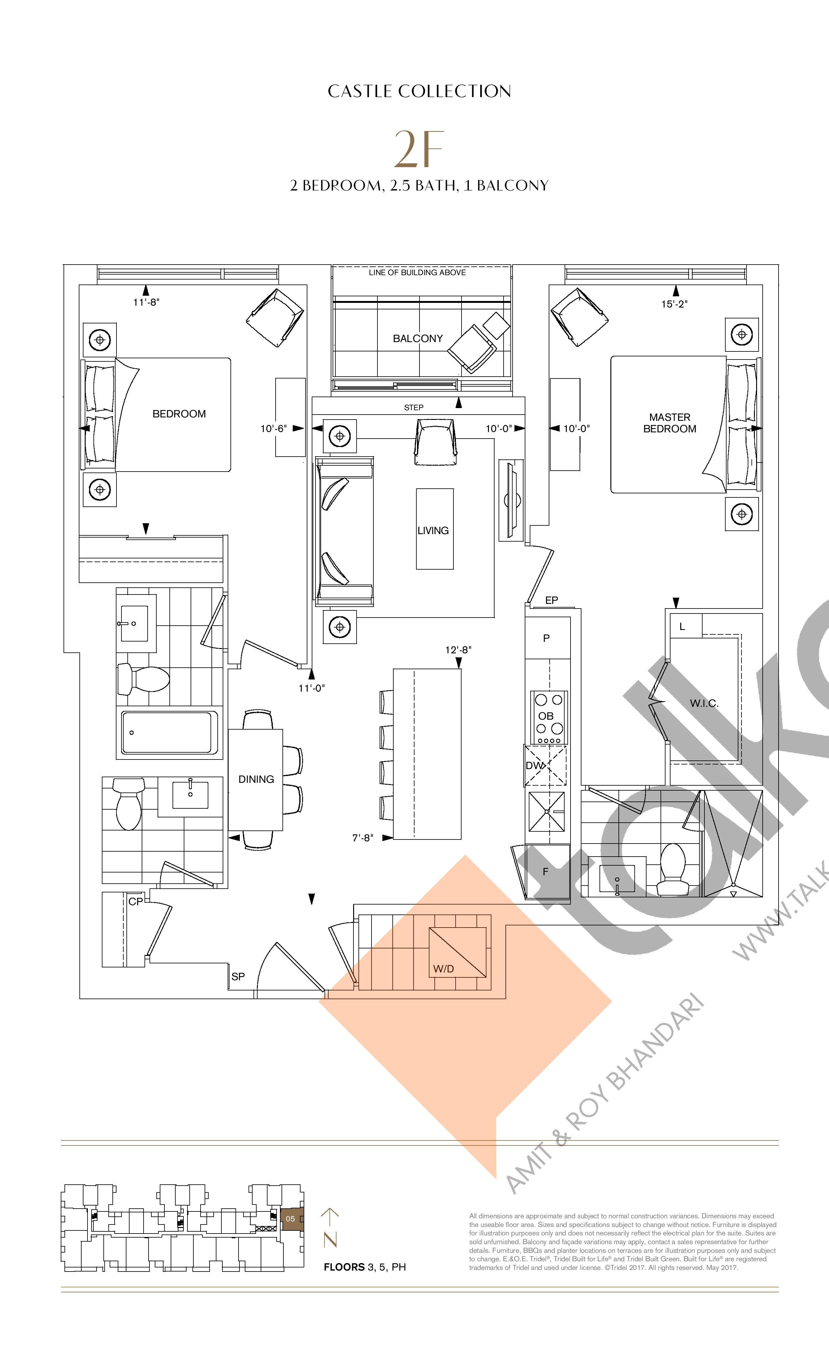 2F Floor Plan at Bianca Condos - 1031 sq.ft