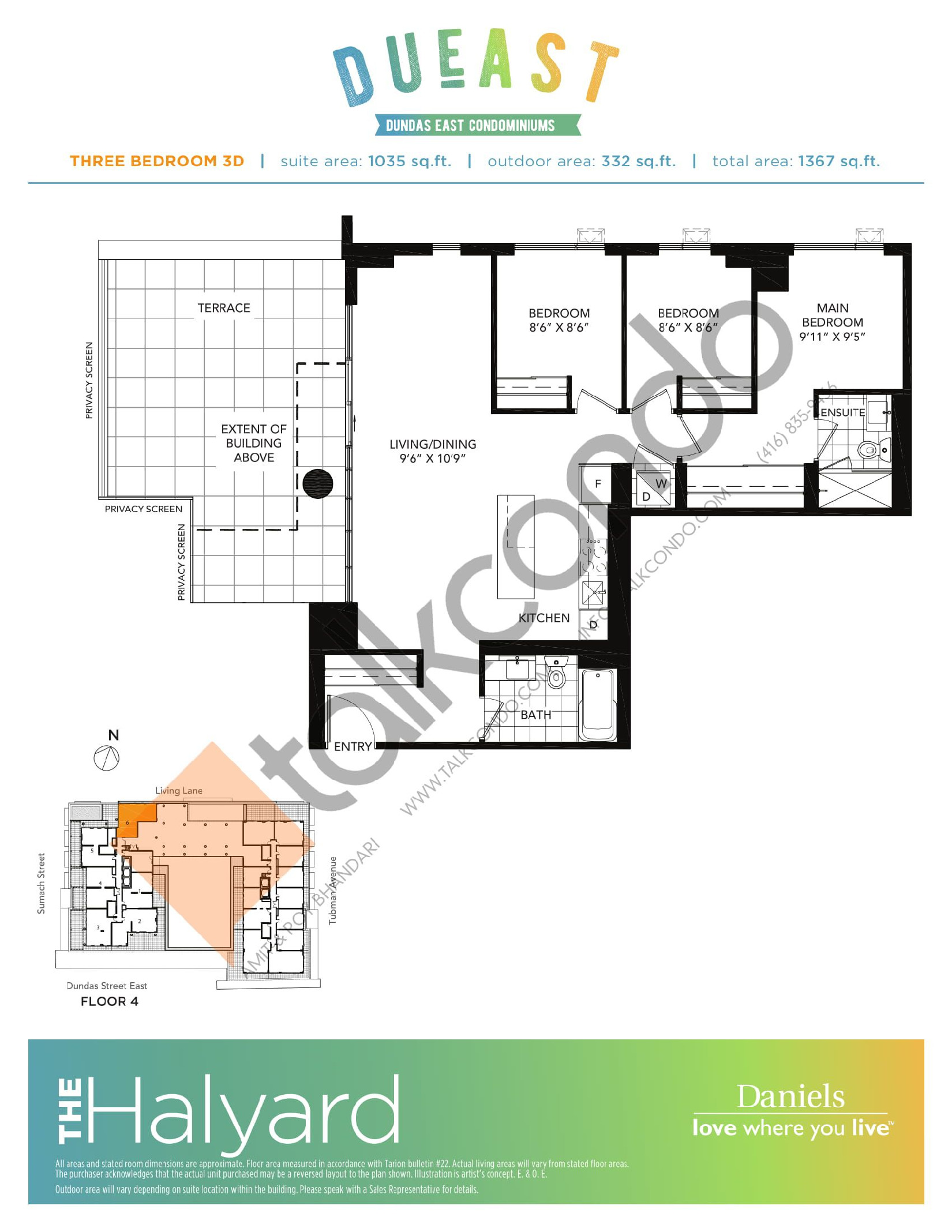 The Halyard 3D Floor Plan at DuEast Condos - 1035 sq.ft