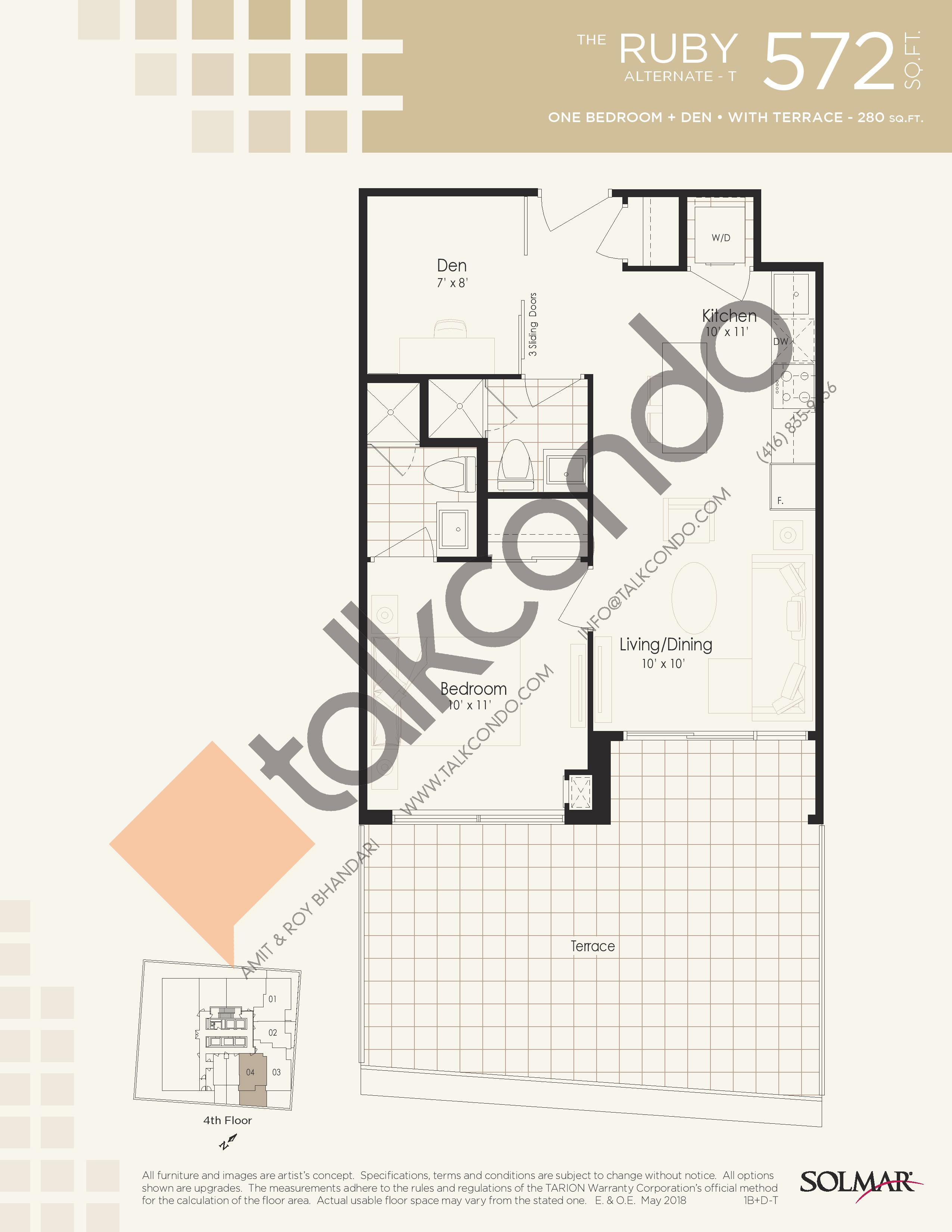 The Ruby Alternate T Floor Plan at Edge Tower 2 Condos - 572 sq.ft