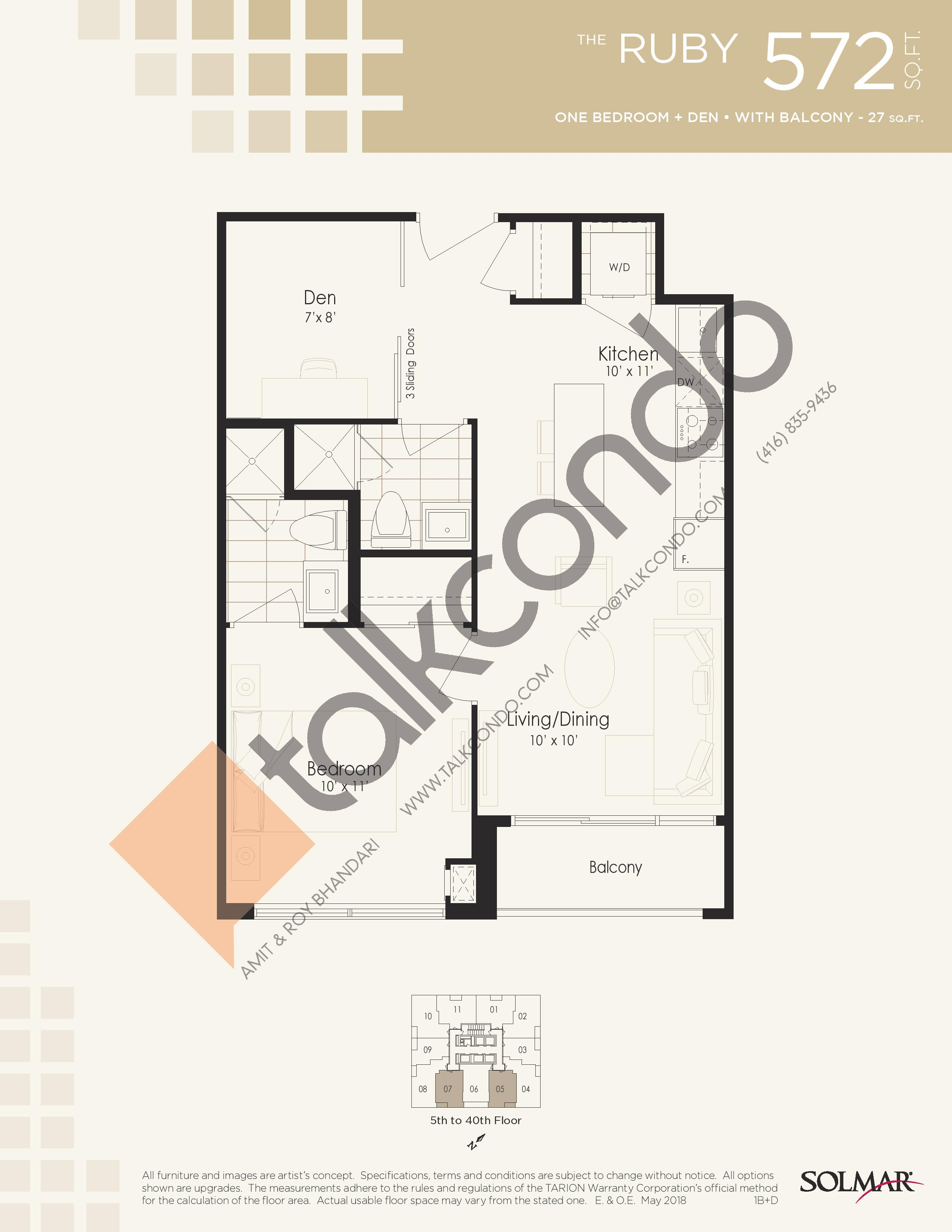 The Ruby Floor Plan at Edge Tower 2 Condos - 572 sq.ft