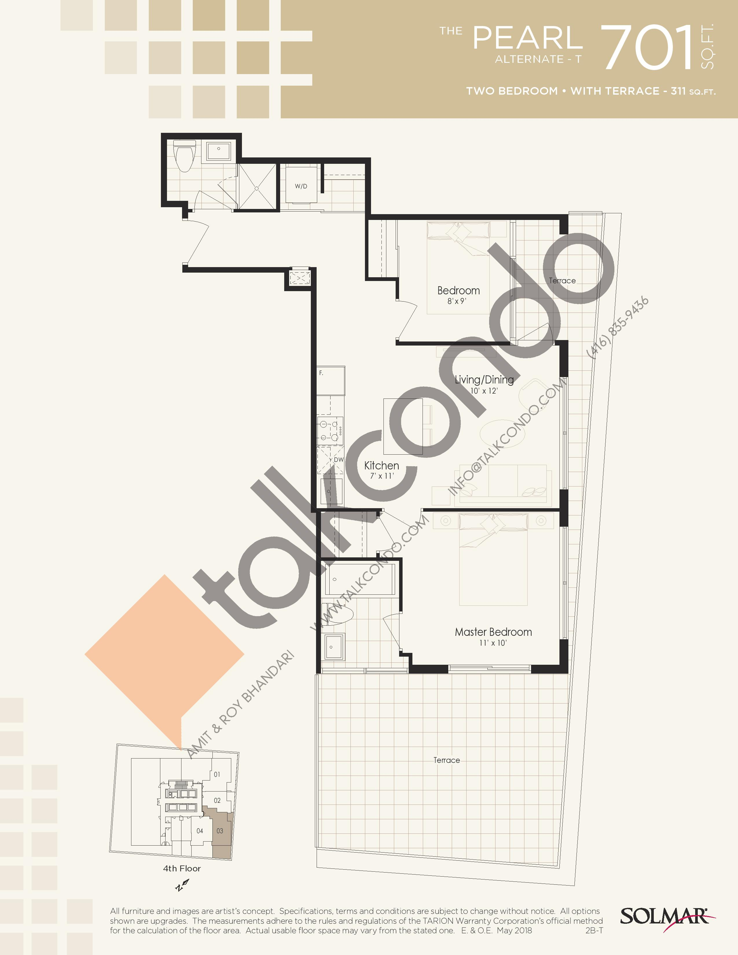 The Pearl Alternate T Floor Plan at Edge Tower 2 Condos - 701 sq.ft