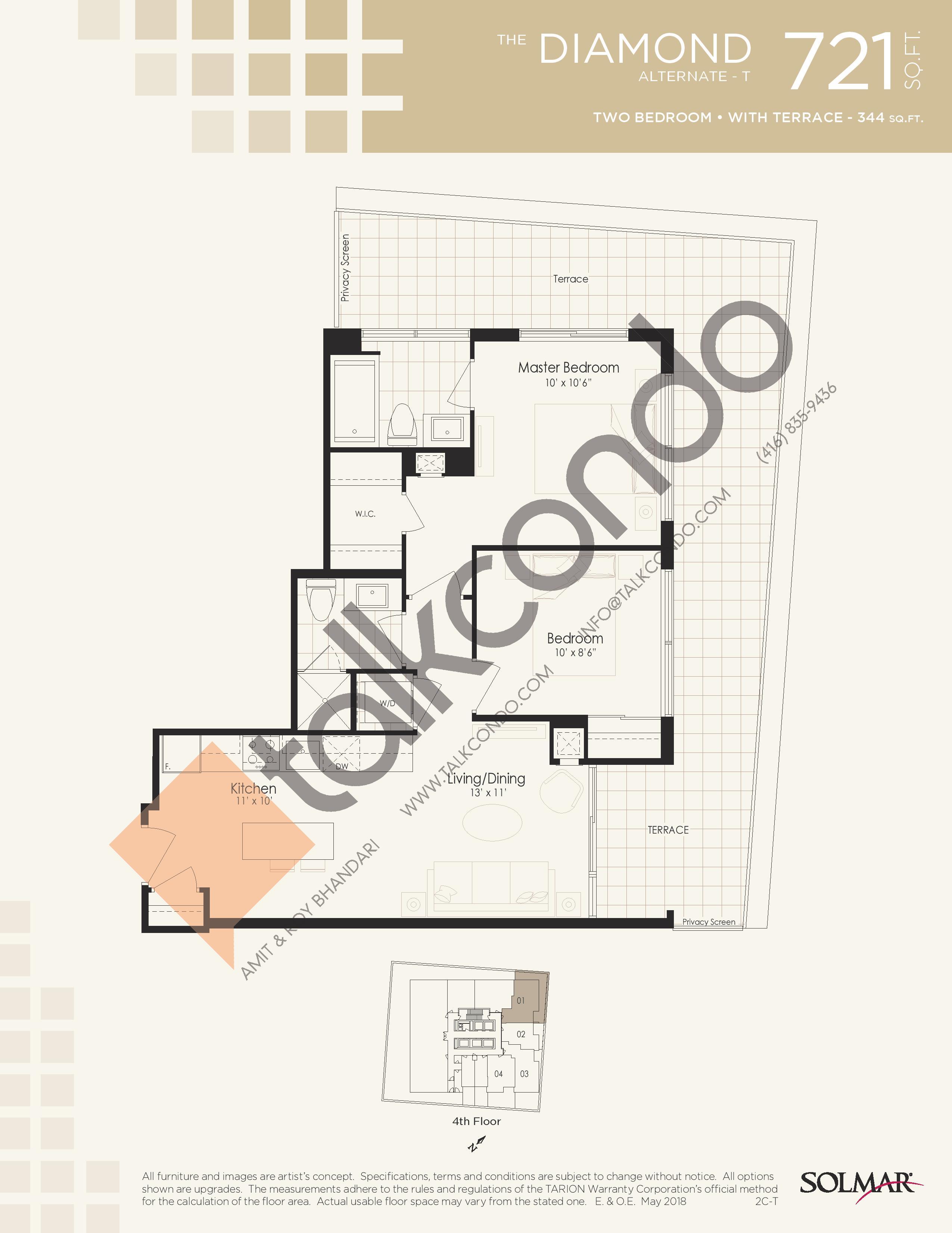 The Diamond Alternate T Floor Plan at Edge Tower 2 Condos - 721 sq.ft