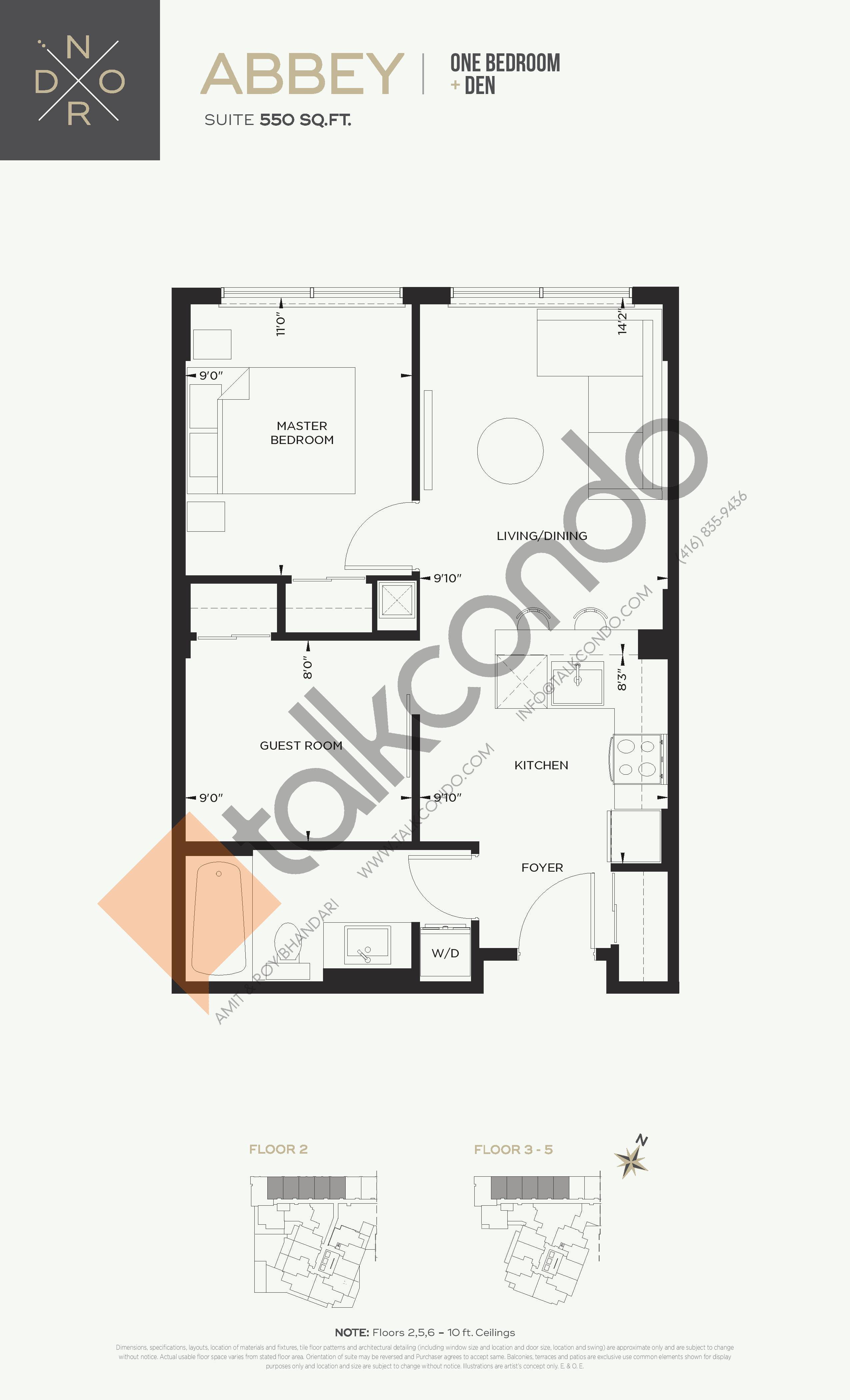 Abbey Floor Plan at Nord West at Expo City Condos - 550 sq.ft