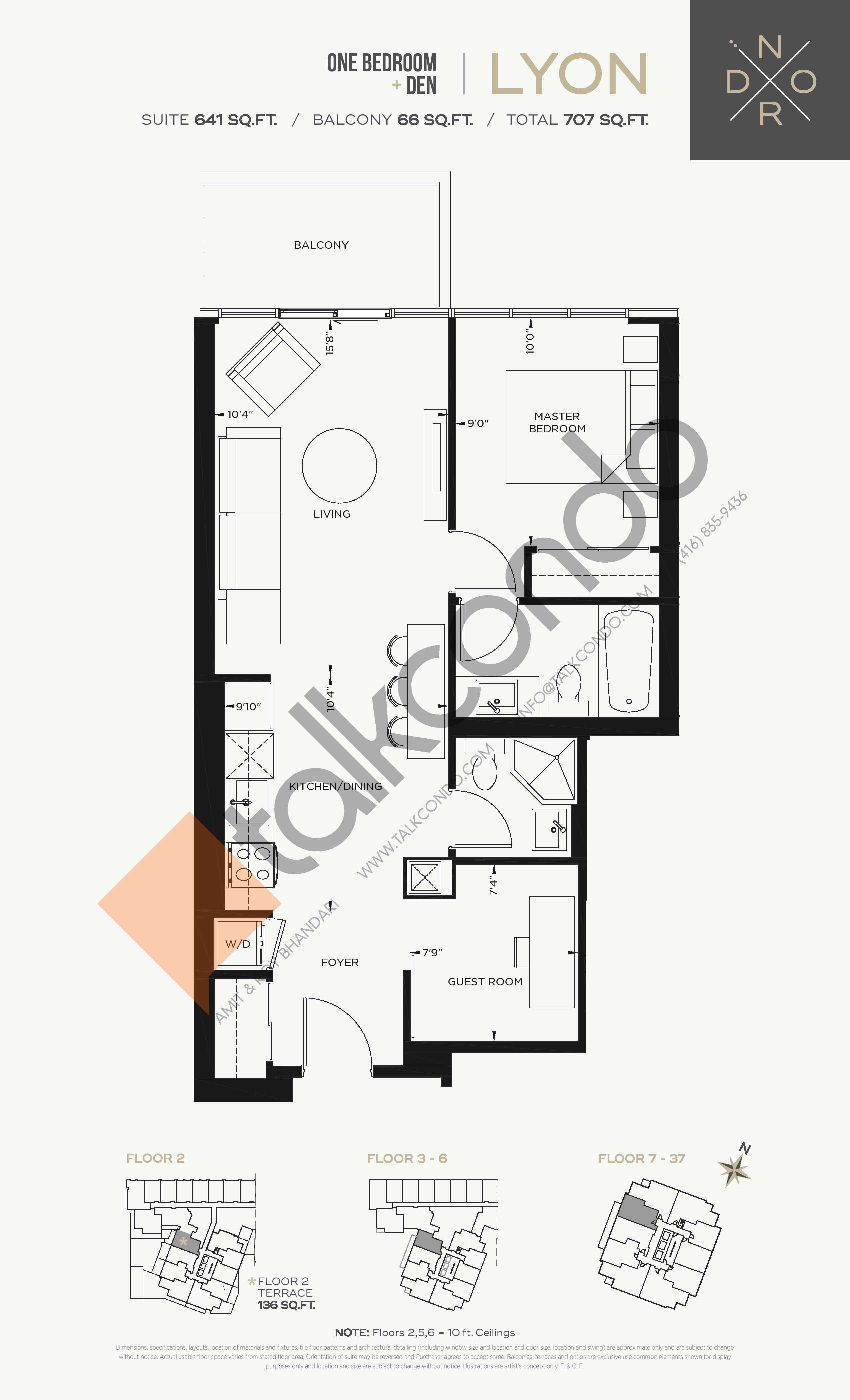 Lyon Floor Plan at Nord West at Expo City Condos - 641 sq.ft