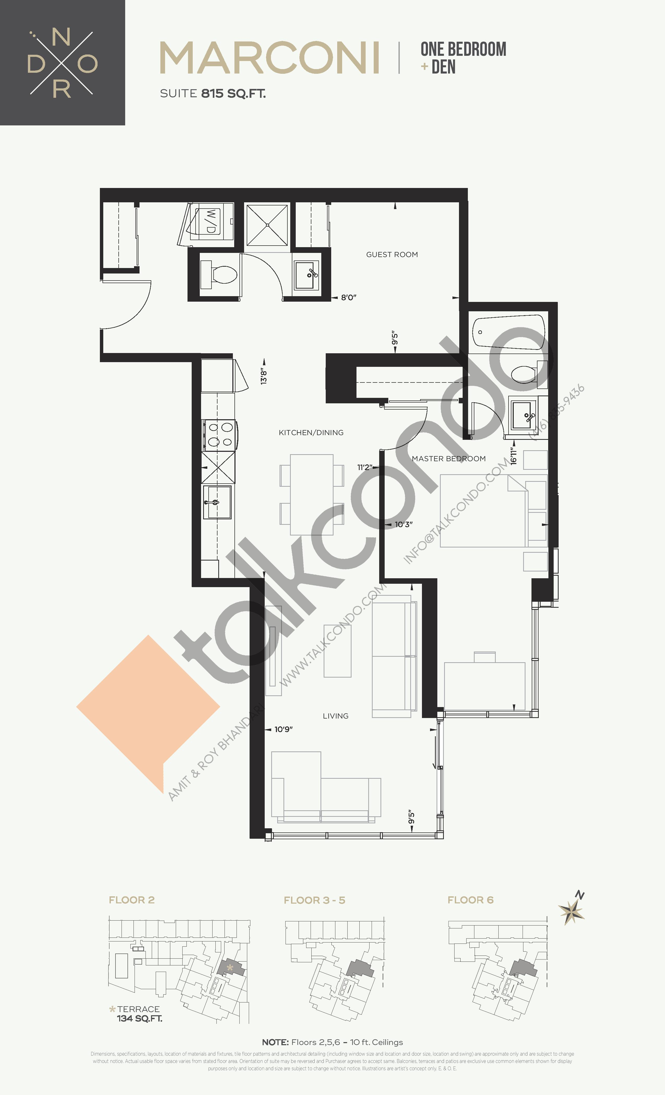 Marconi Floor Plan at Nord West at Expo City Condos - 815 sq.ft