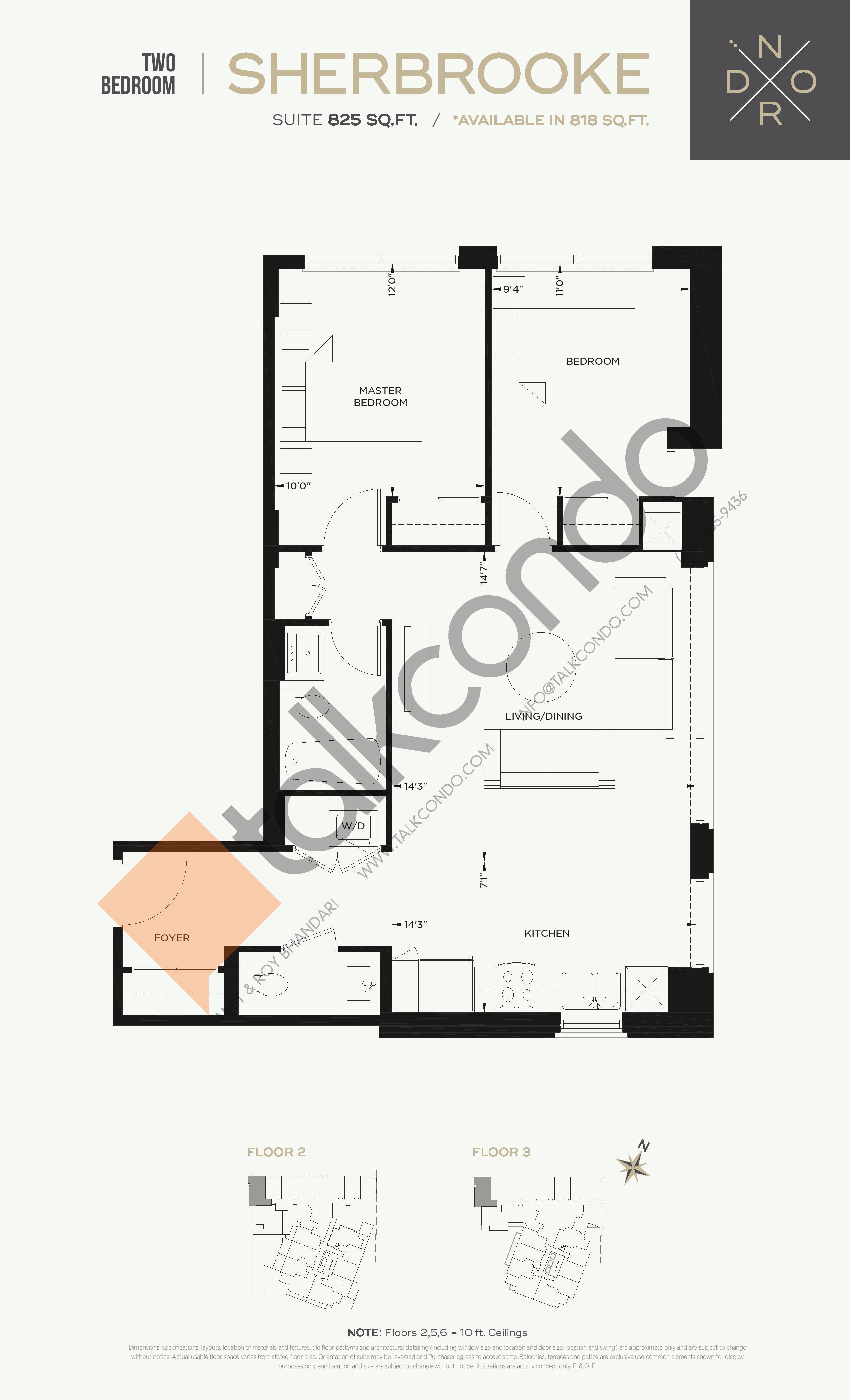 Sherbrooke Floor Plan at Nord West at Expo City Condos - 825 sq.ft
