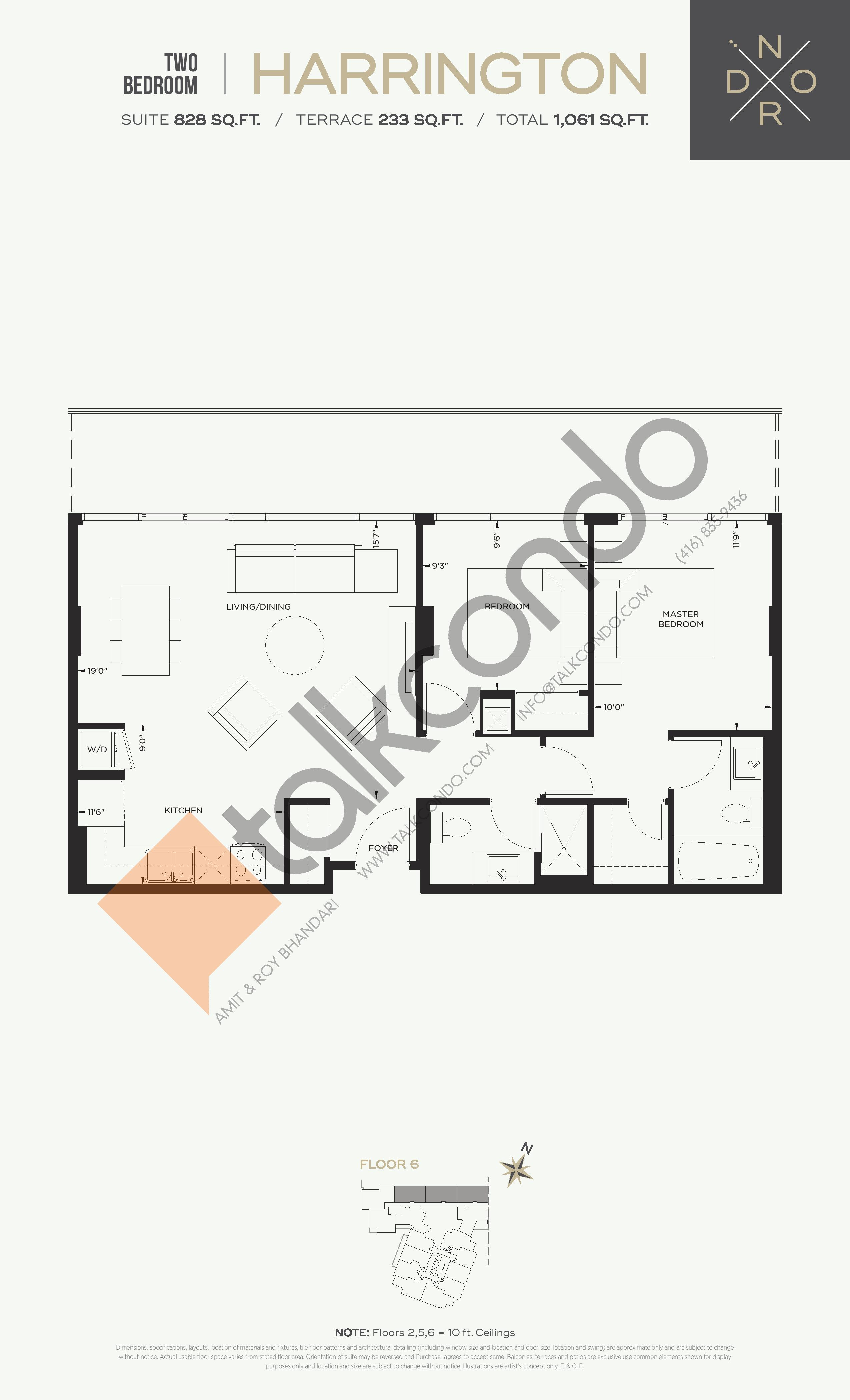 Harrington Floor Plan at Nord West at Expo City Condos - 828 sq.ft