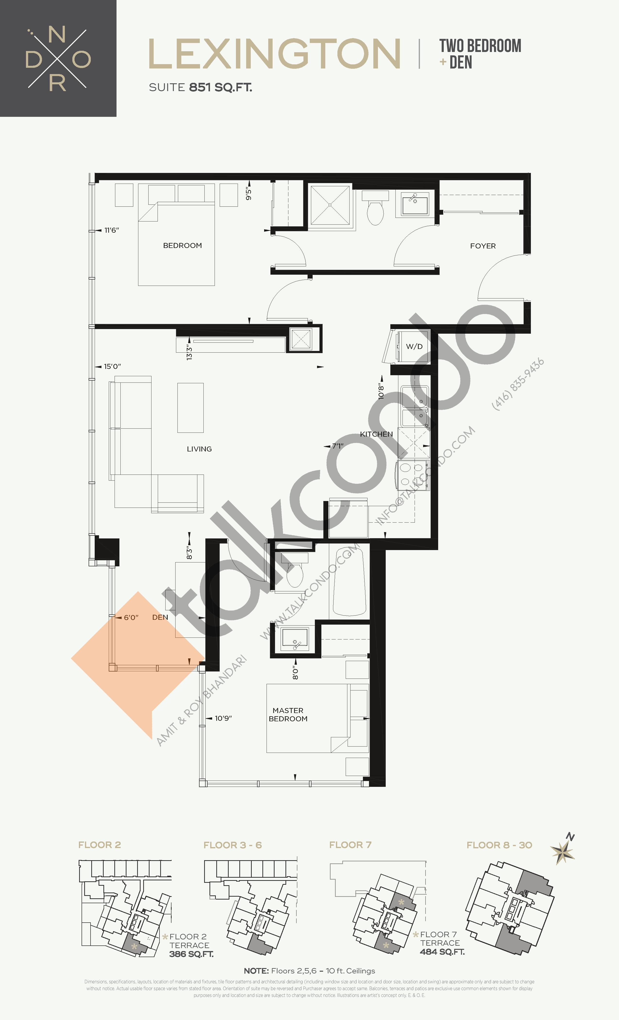 Lexington Floor Plan at Nord West at Expo City Condos - 851 sq.ft