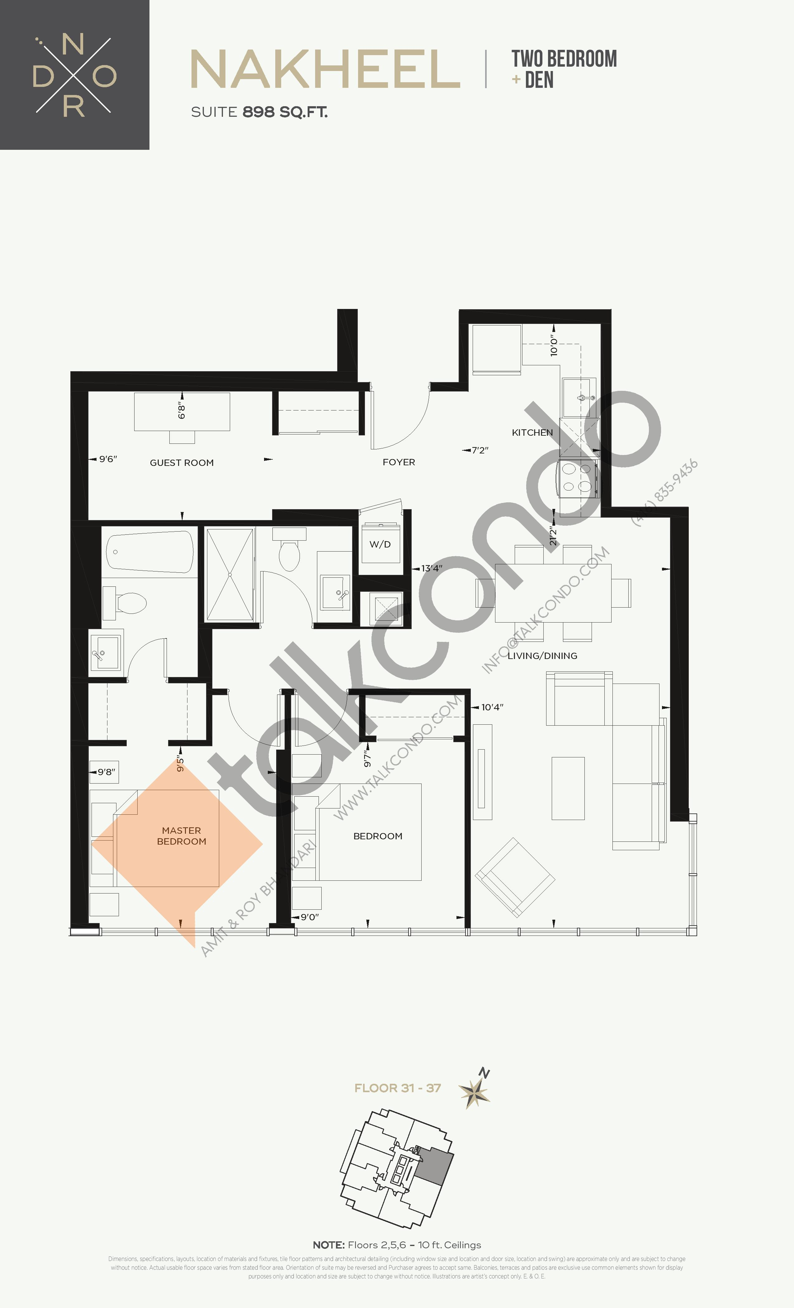 Nakheel Floor Plan at Nord West at Expo City Condos - 898 sq.ft