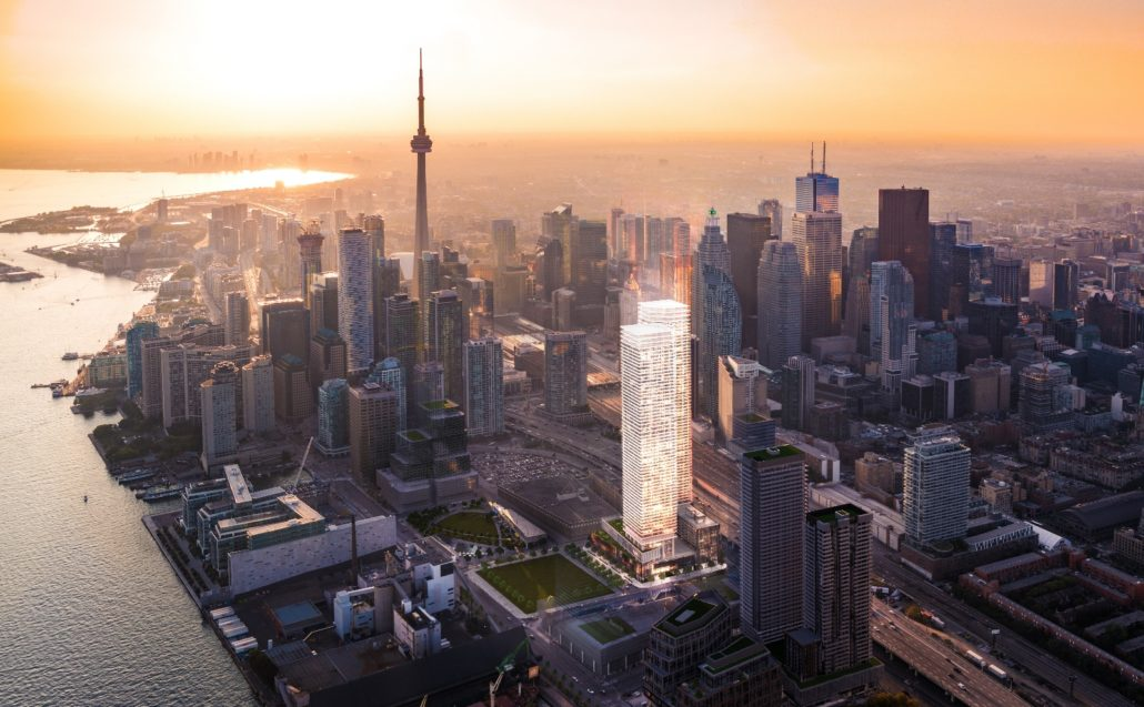 Aerial view of Sugar Wharf Condos over Toronto