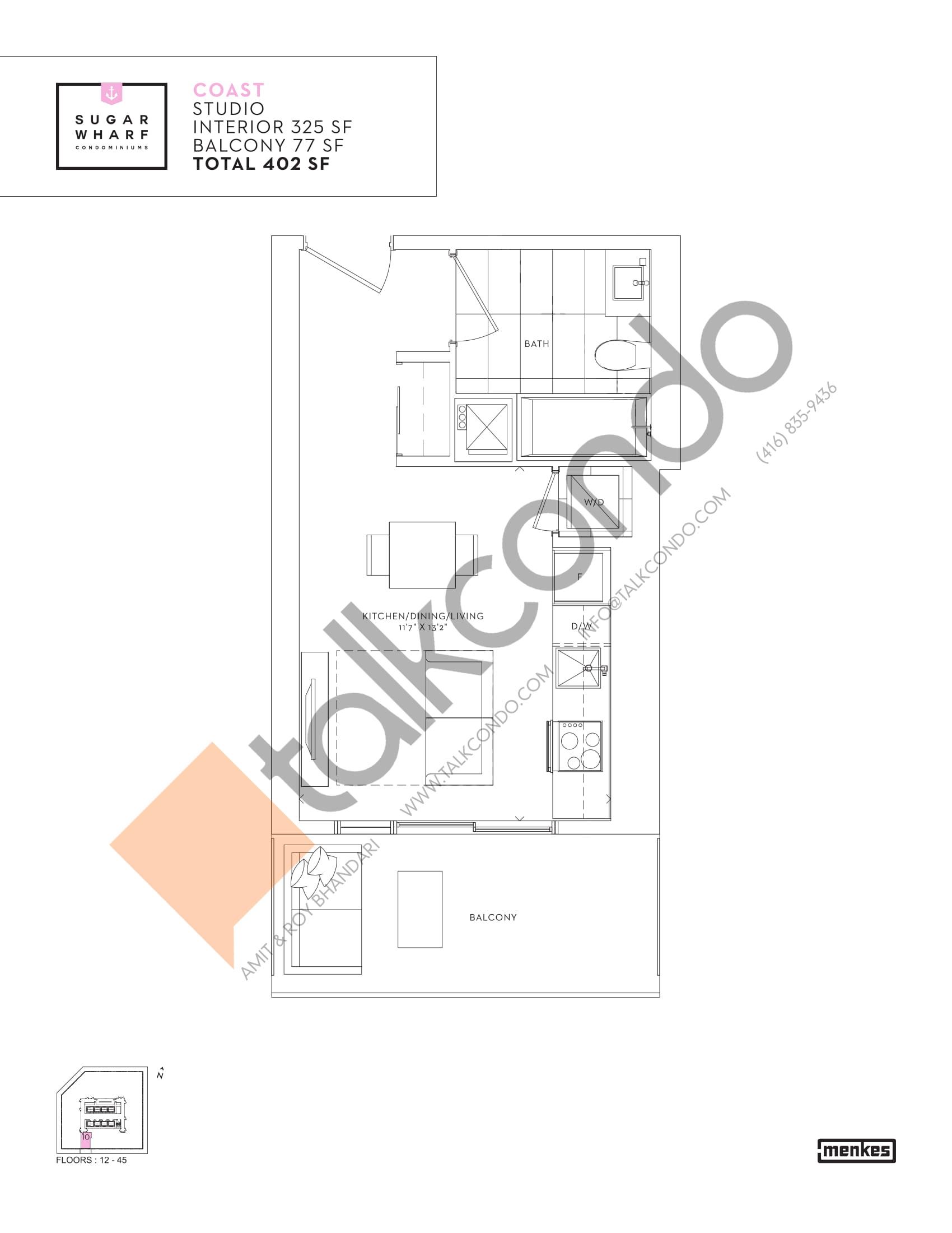 Coast Floor Plan at Sugar Wharf Condos East Tower - 325 sq.ft