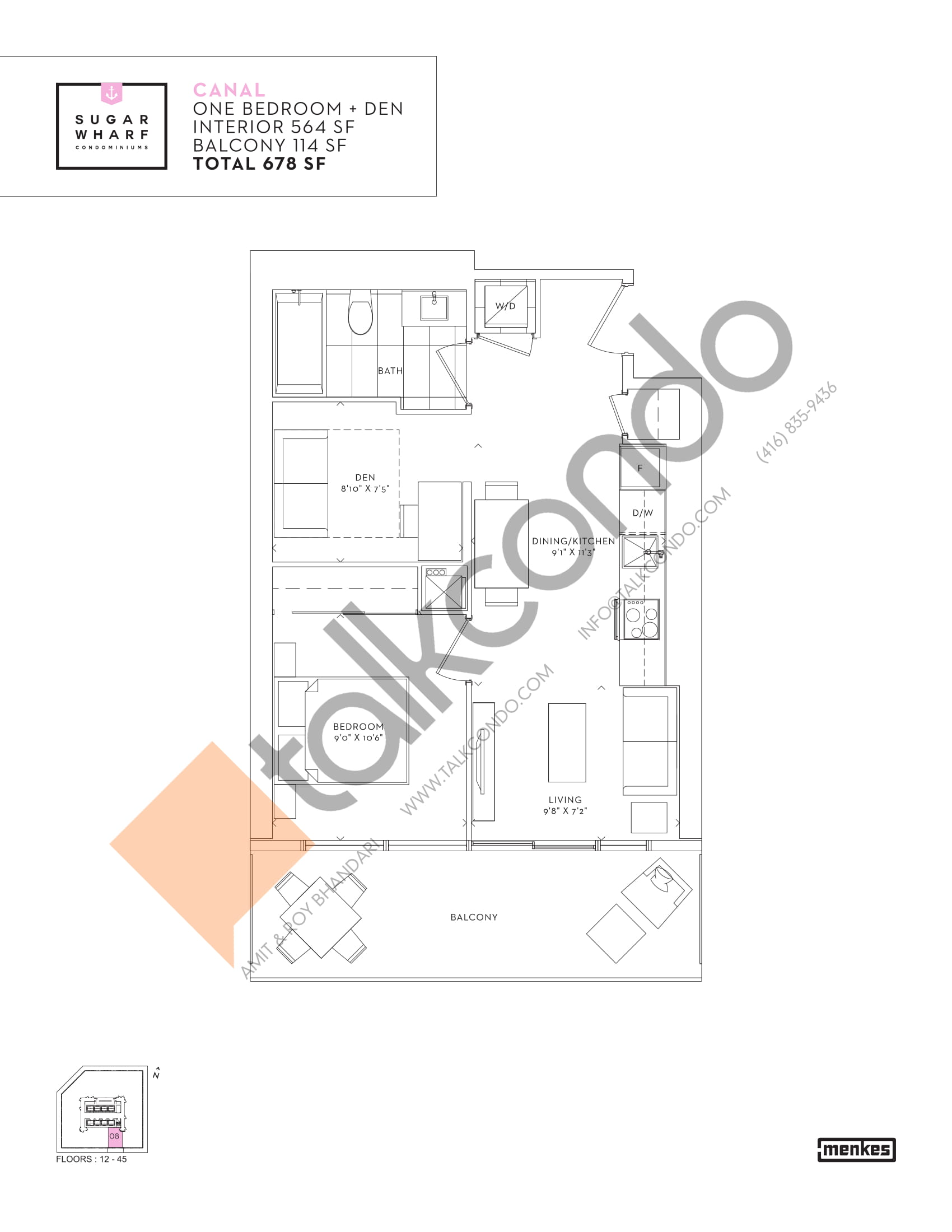 Canal Floor Plan at Sugar Wharf Condos East Tower - 564 sq.ft