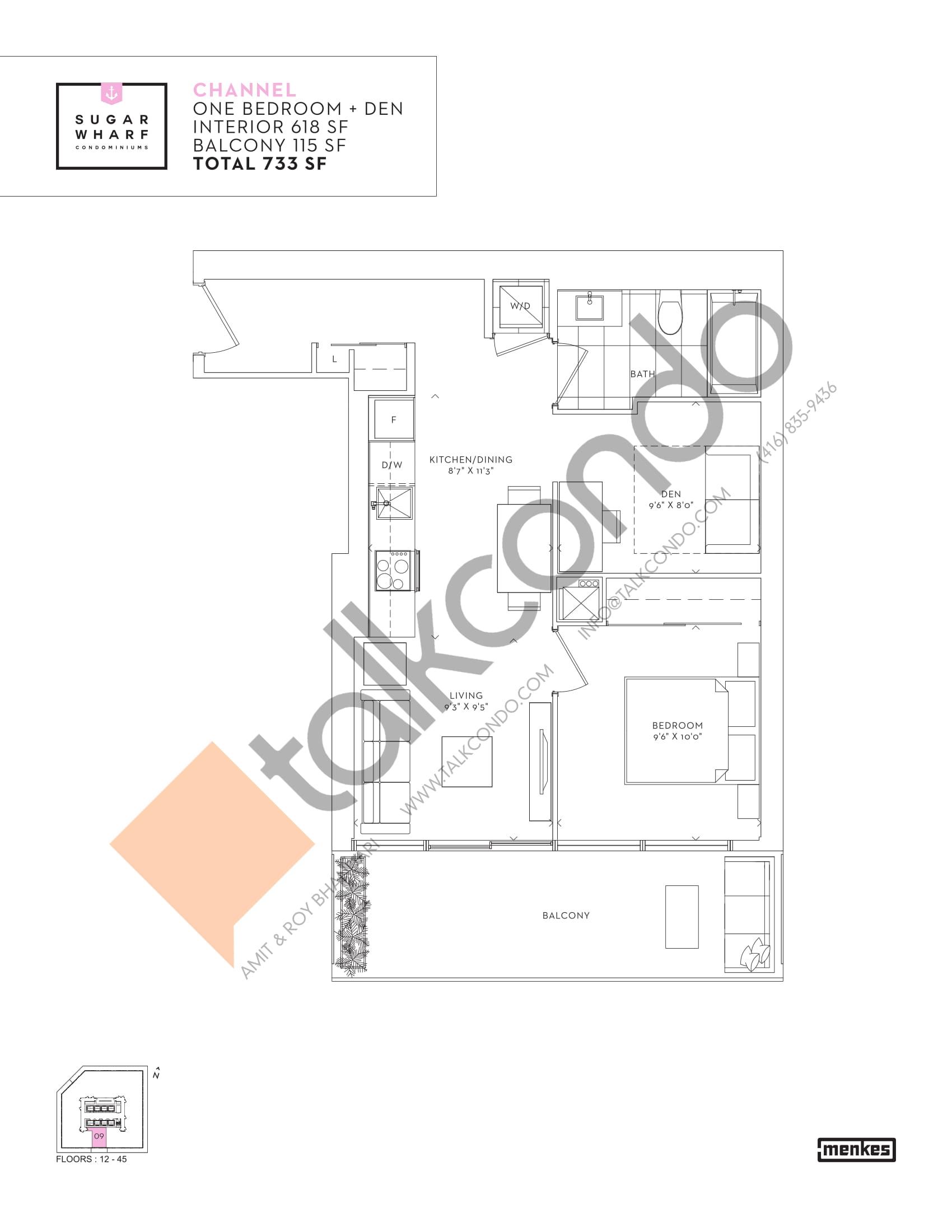 Channel Floor Plan at Sugar Wharf Condos East Tower - 618 sq.ft