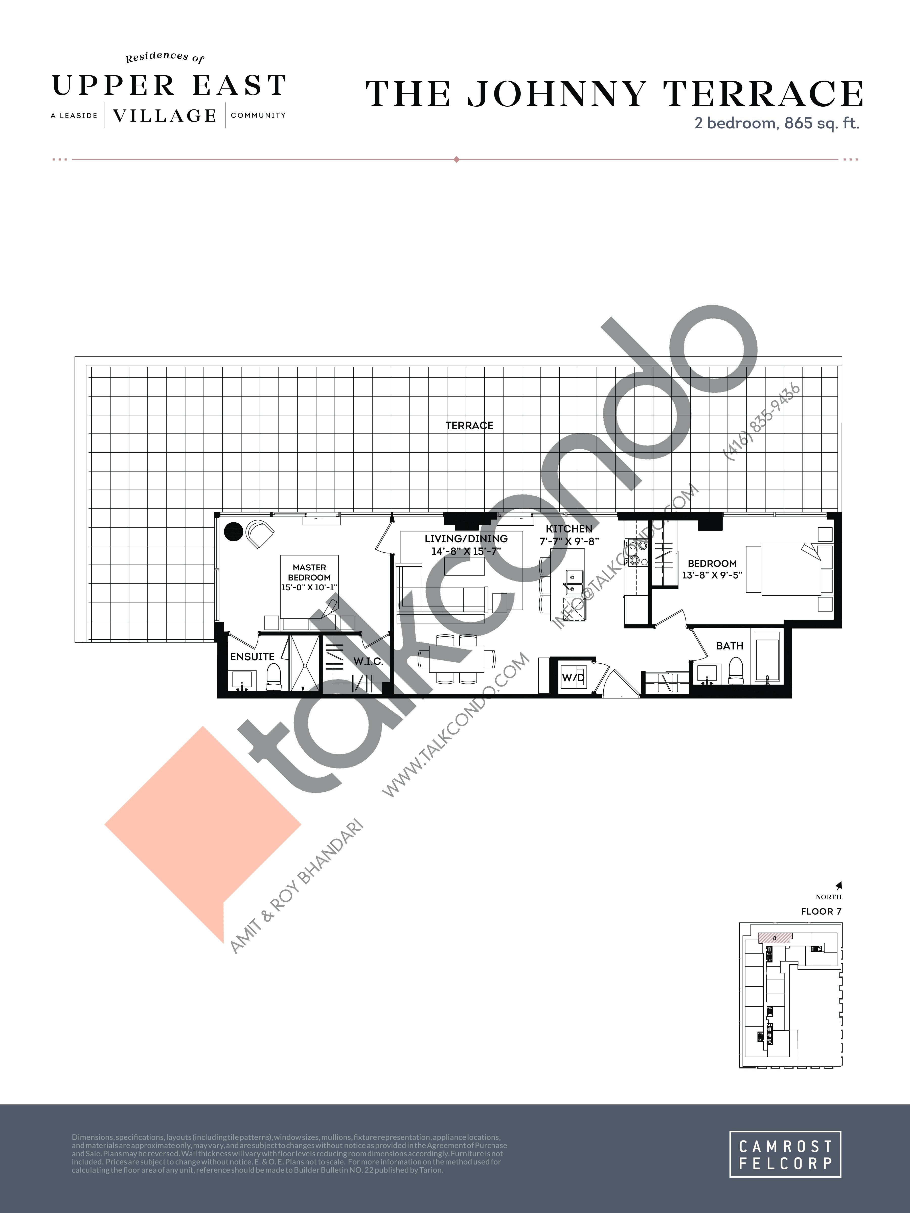 The Johnny Terrace Floor Plan at Upper East Village Condos - 865 sq.ft
