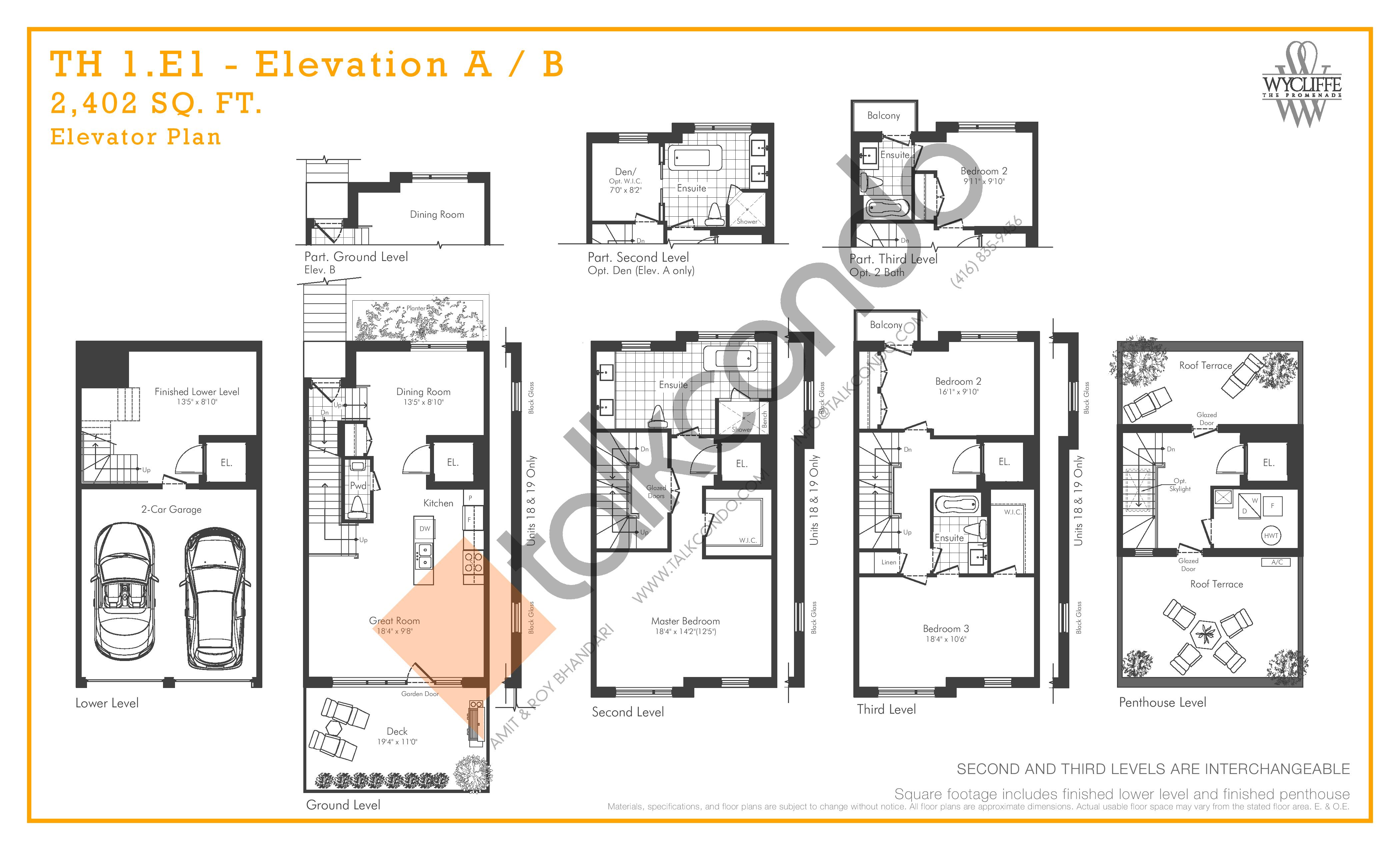 TH 1.E1 - Elevation A/B Elevator Plan Floor Plan at Wycliffe at the Promenade - 2402 sq.ft