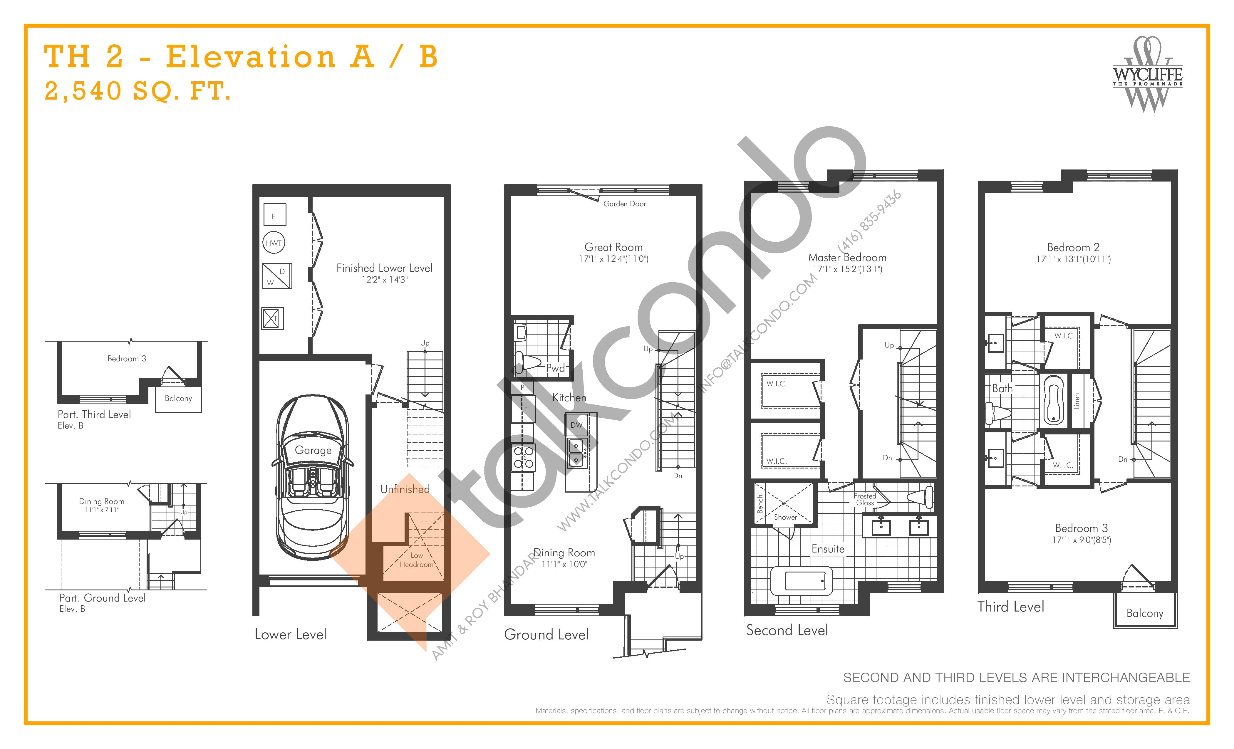 TH 2 - Elevation A/B Floor Plan at Wycliffe at the Promenade - 2540 sq.ft