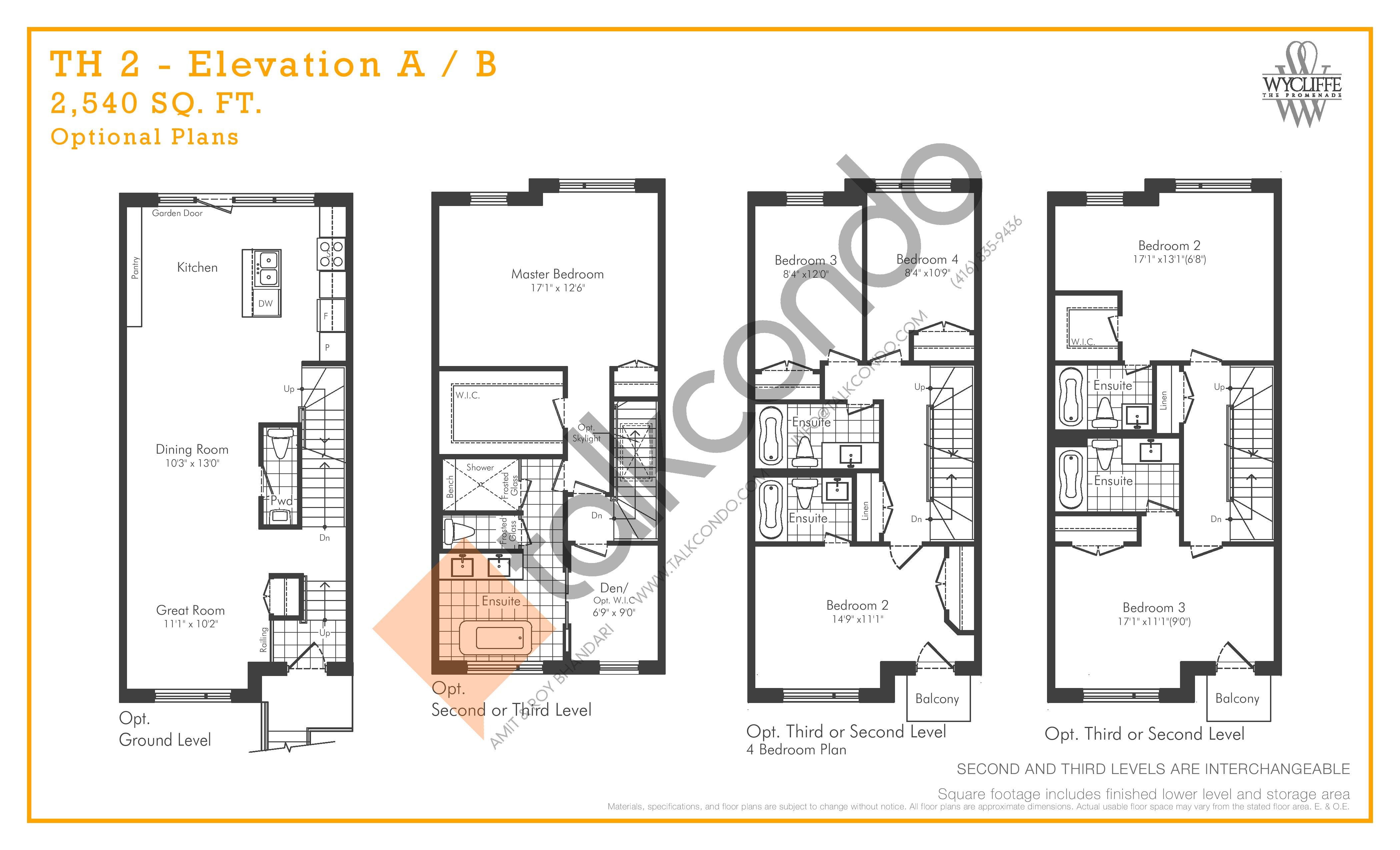TH 2 - Elevation A/B Optional Plans Floor Plan at Wycliffe at the Promenade - 2540 sq.ft