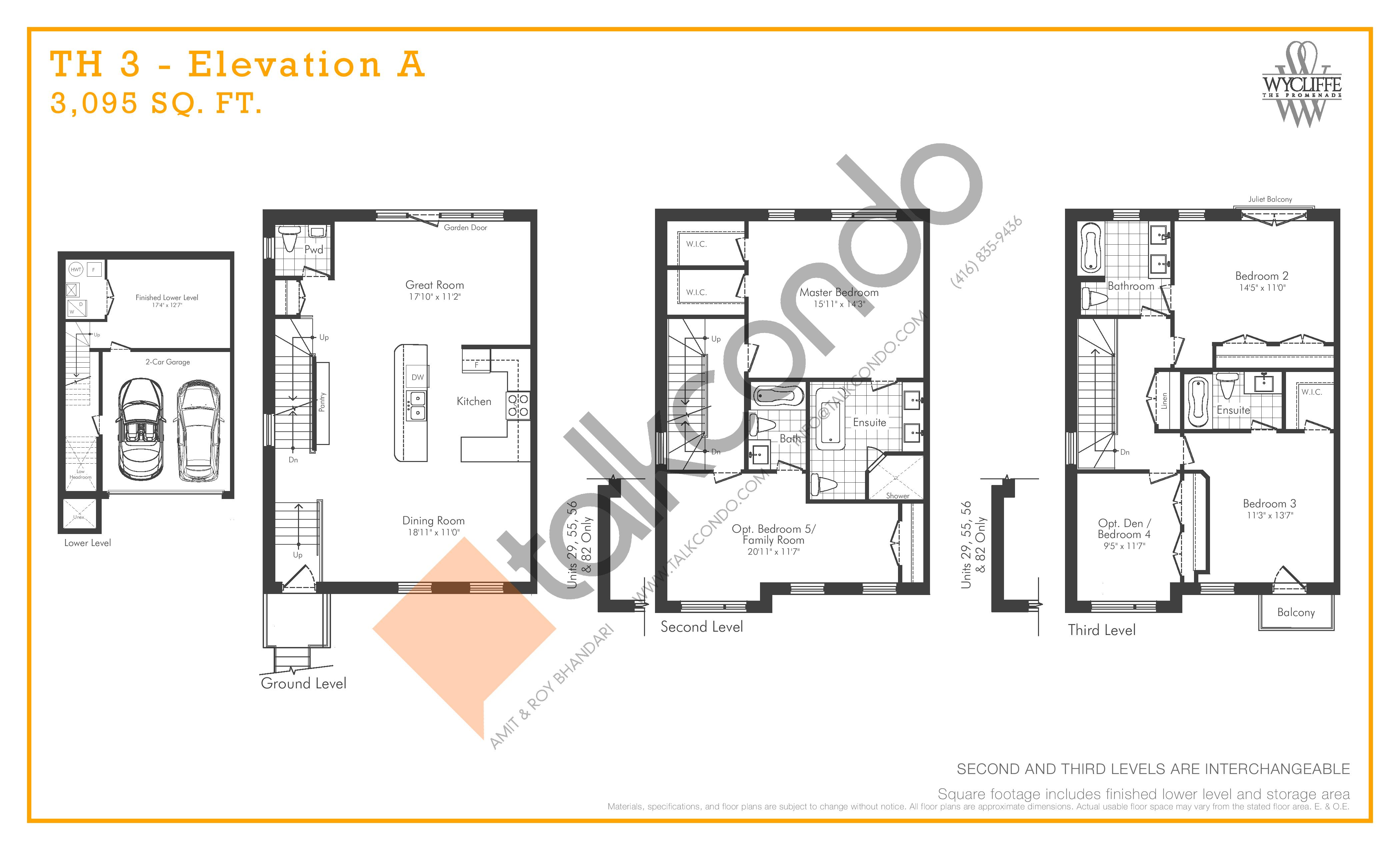 TH 3 - Elevation A Floor Plan at Wycliffe at the Promenade - 3095 sq.ft