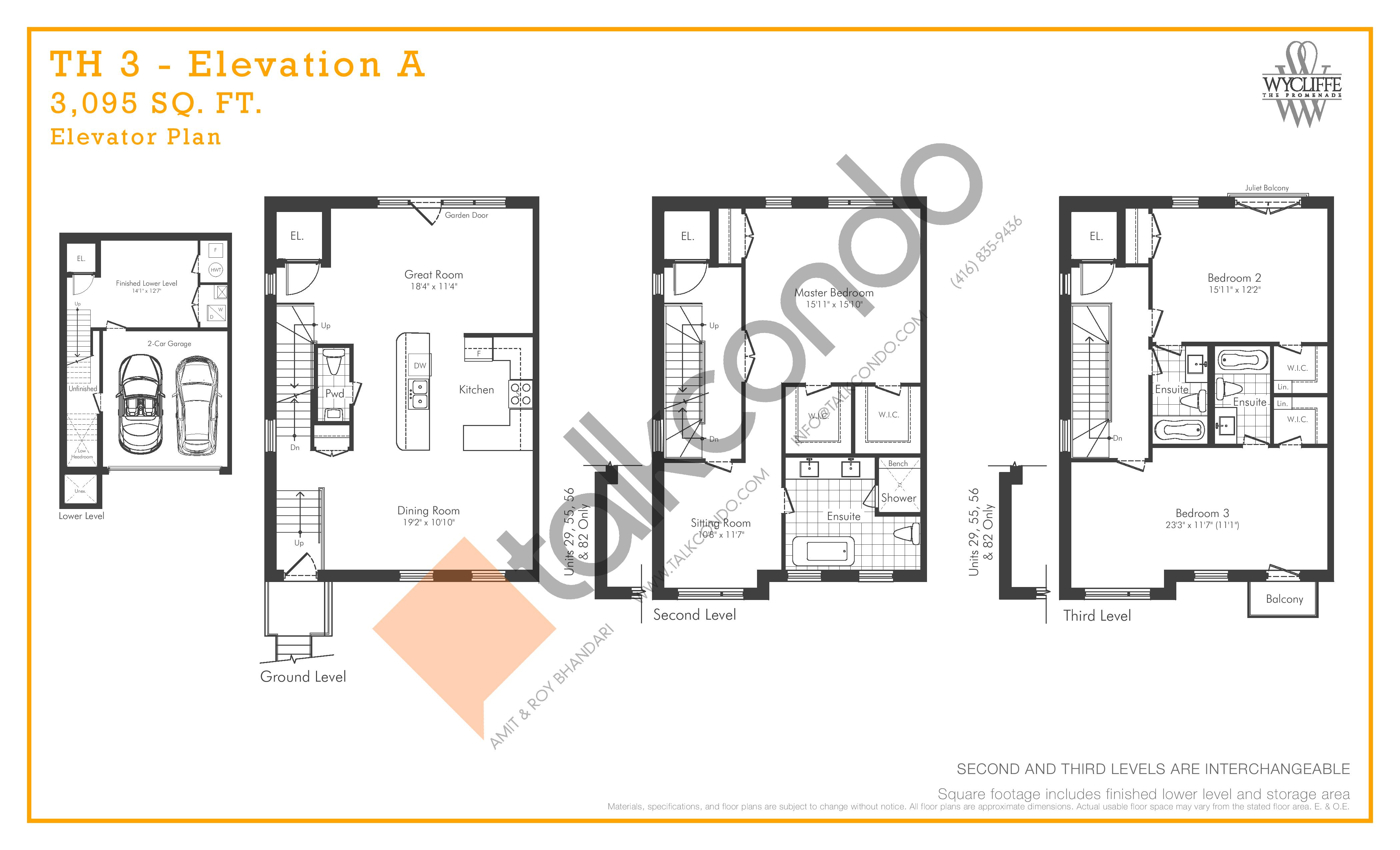 TH 3 - Elevation A Elevator Plan Floor Plan at Wycliffe at the Promenade - 3095 sq.ft