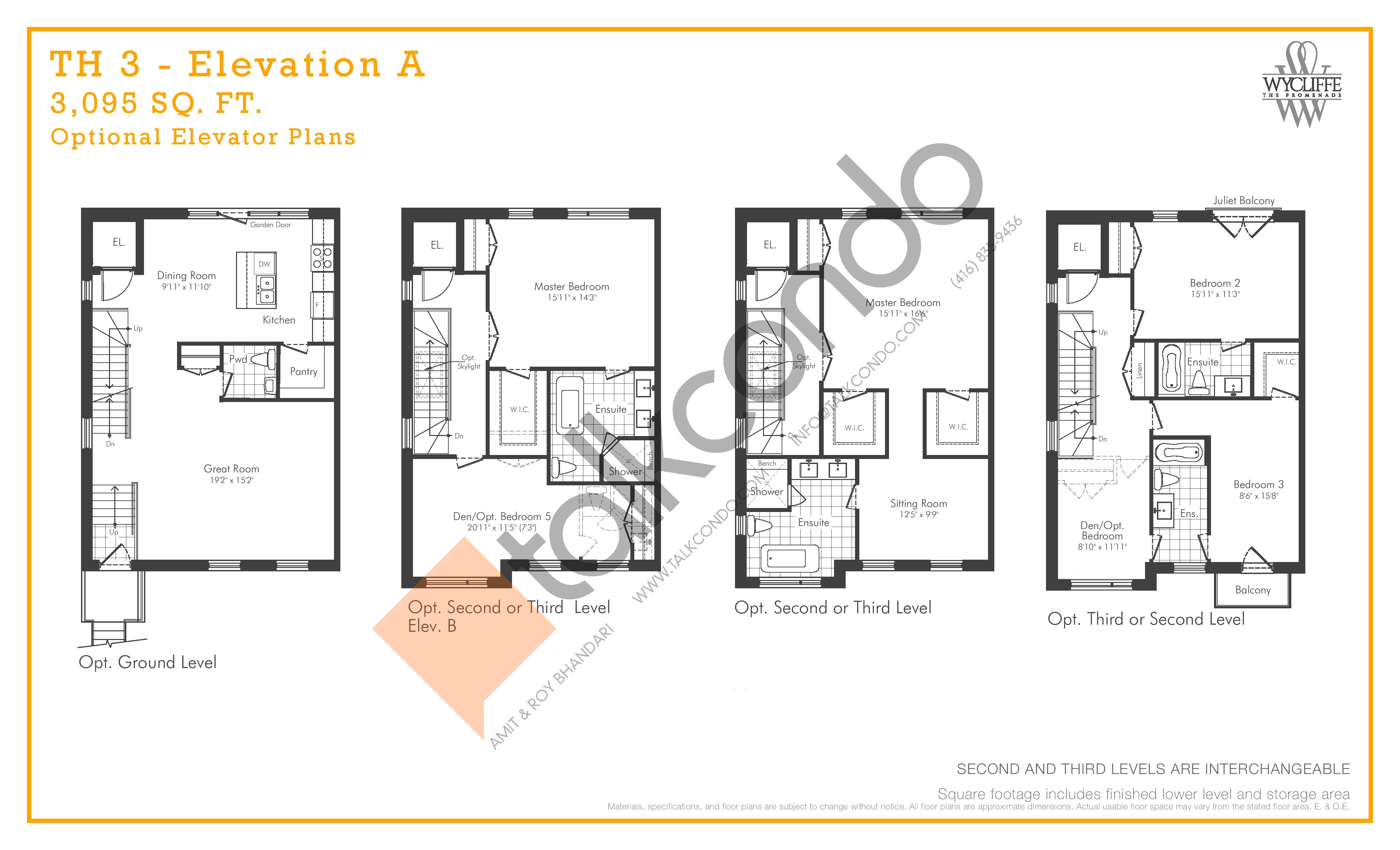 TH 3 - Elevation A Optional Elevator Plans Floor Plan at Wycliffe at the Promenade - 3095 sq.ft