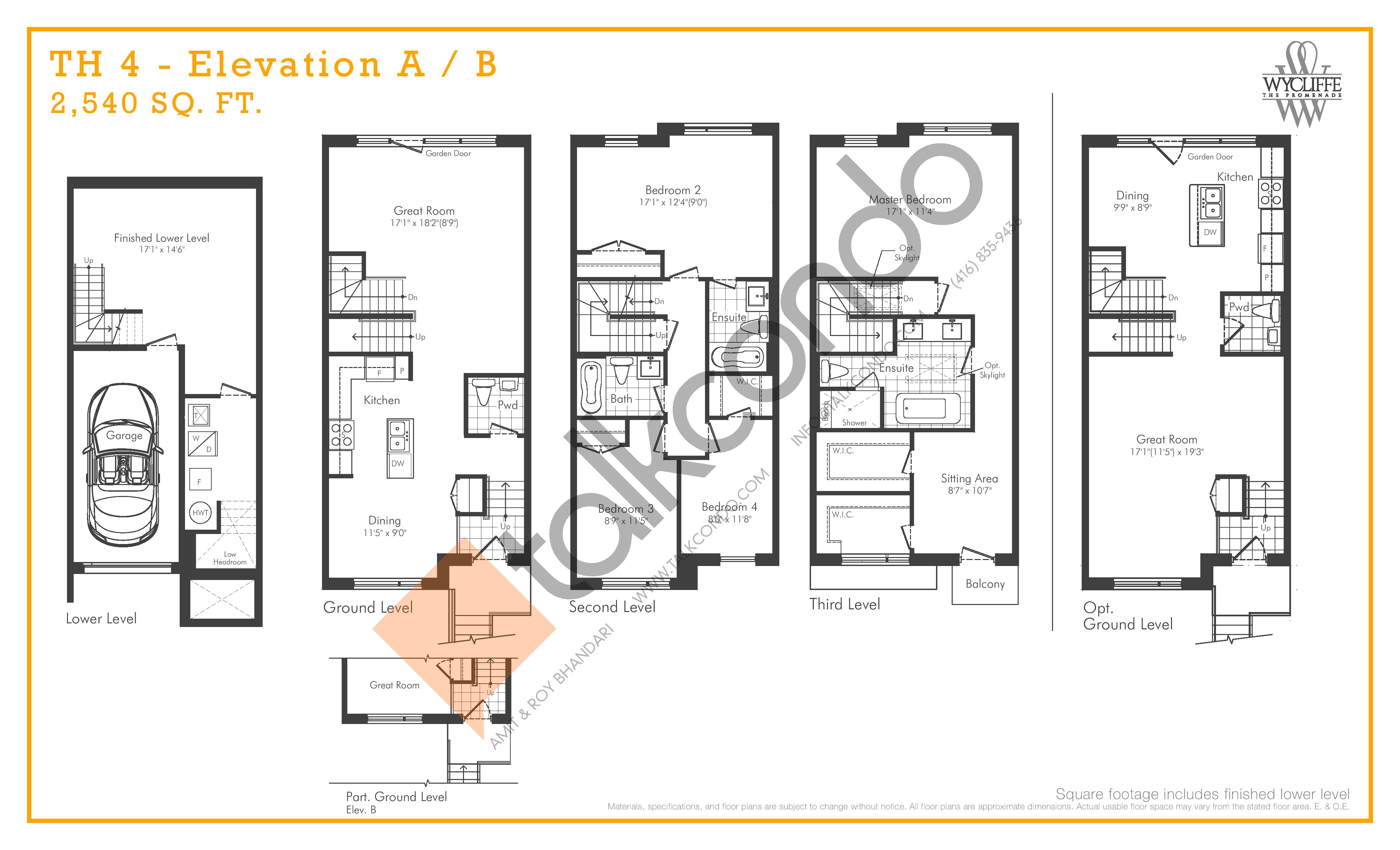 TH 4 - Elevation A/B Floor Plan at Wycliffe at the Promenade - 2540 sq.ft