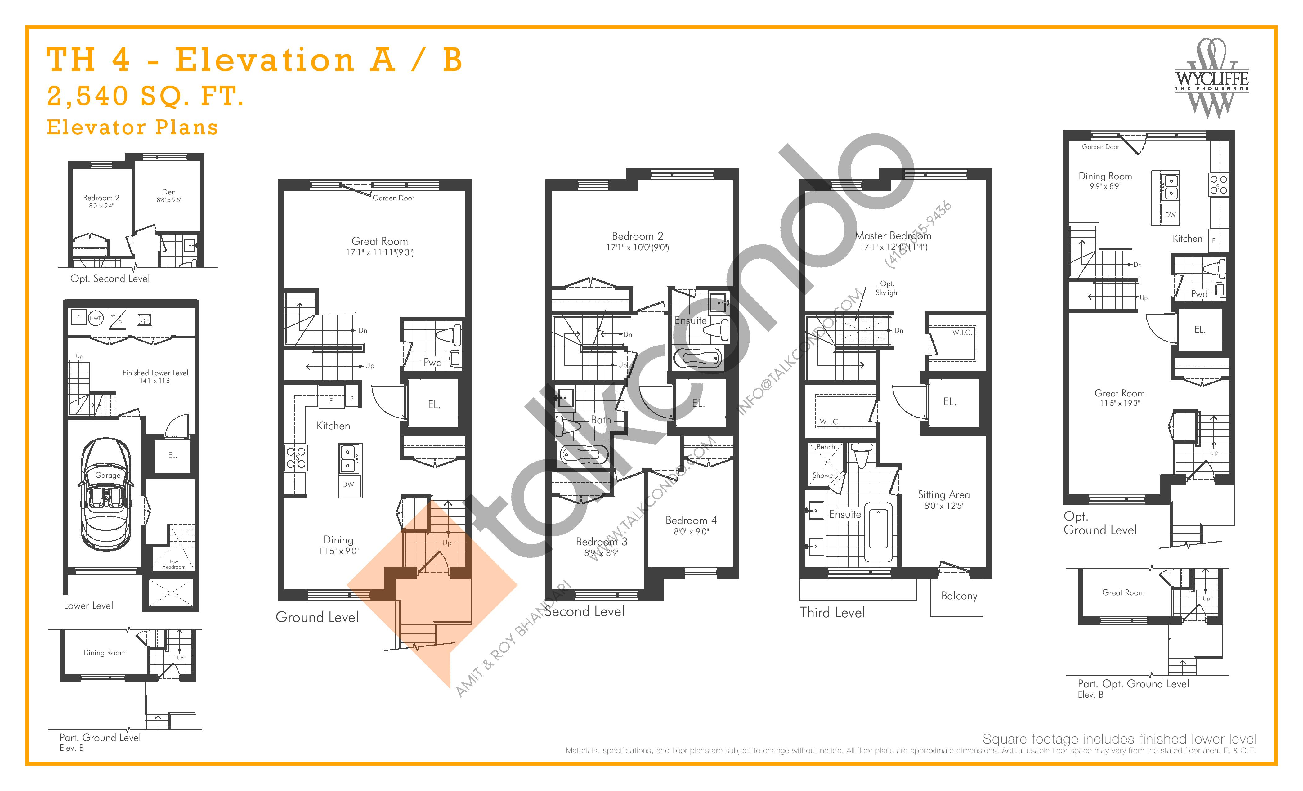 TH 4 - Elevation A/B Elevator Plans Floor Plan at Wycliffe at the Promenade - 2540 sq.ft