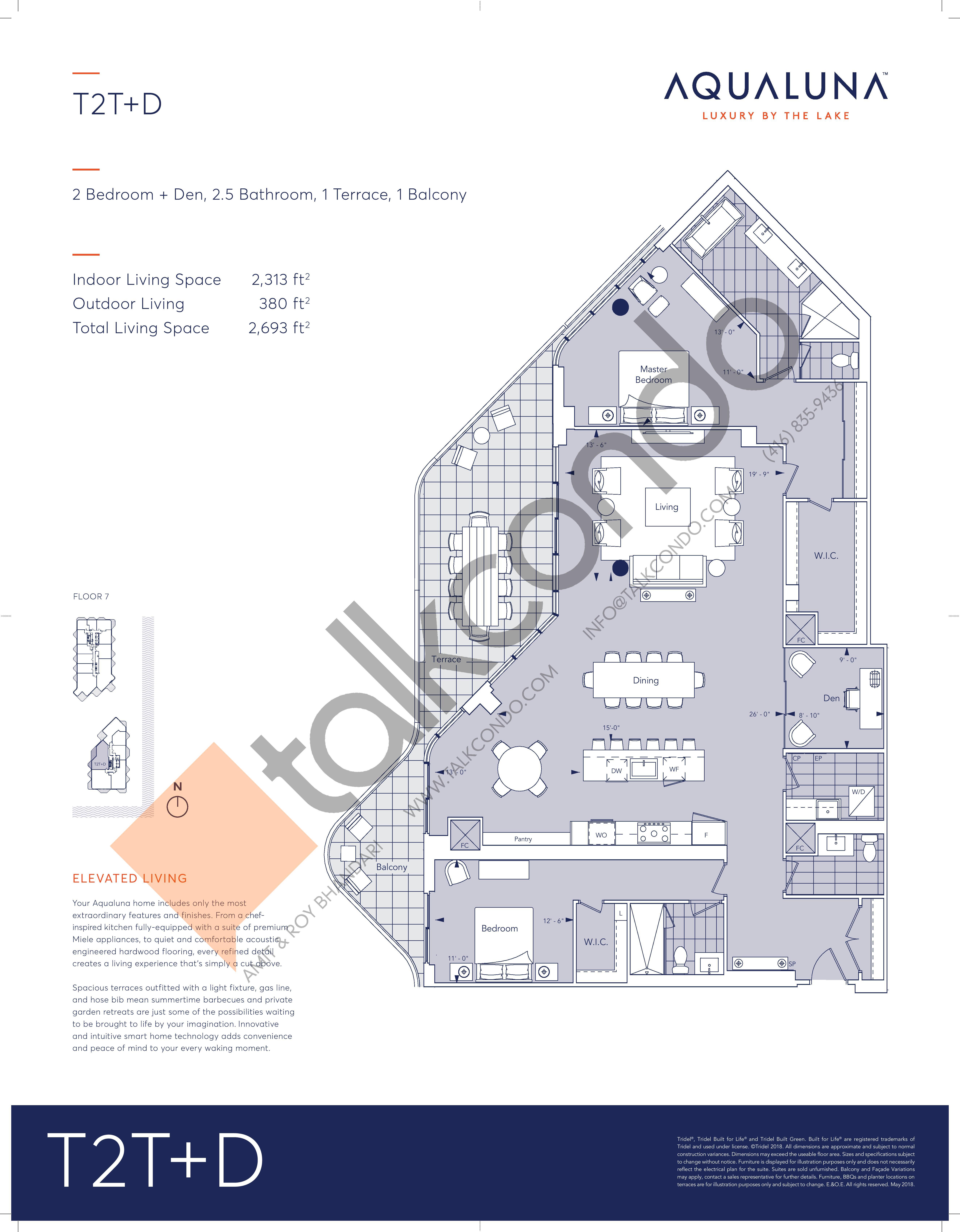 T2T+D Floor Plan at Aqualuna at Bayside Condos - 2313 sq.ft