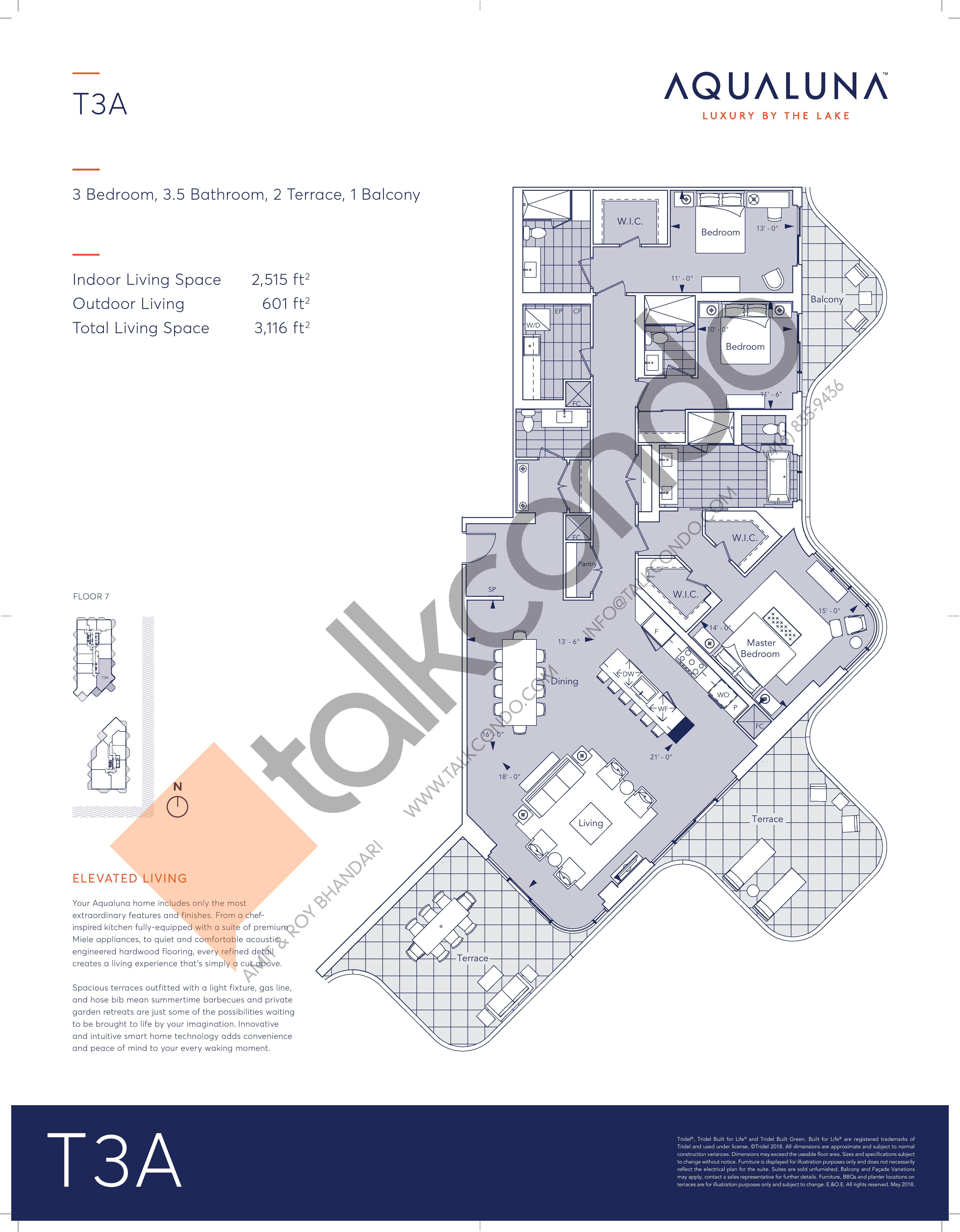 T3A Floor Plan at Aqualuna at Bayside Condos - 2515 sq.ft