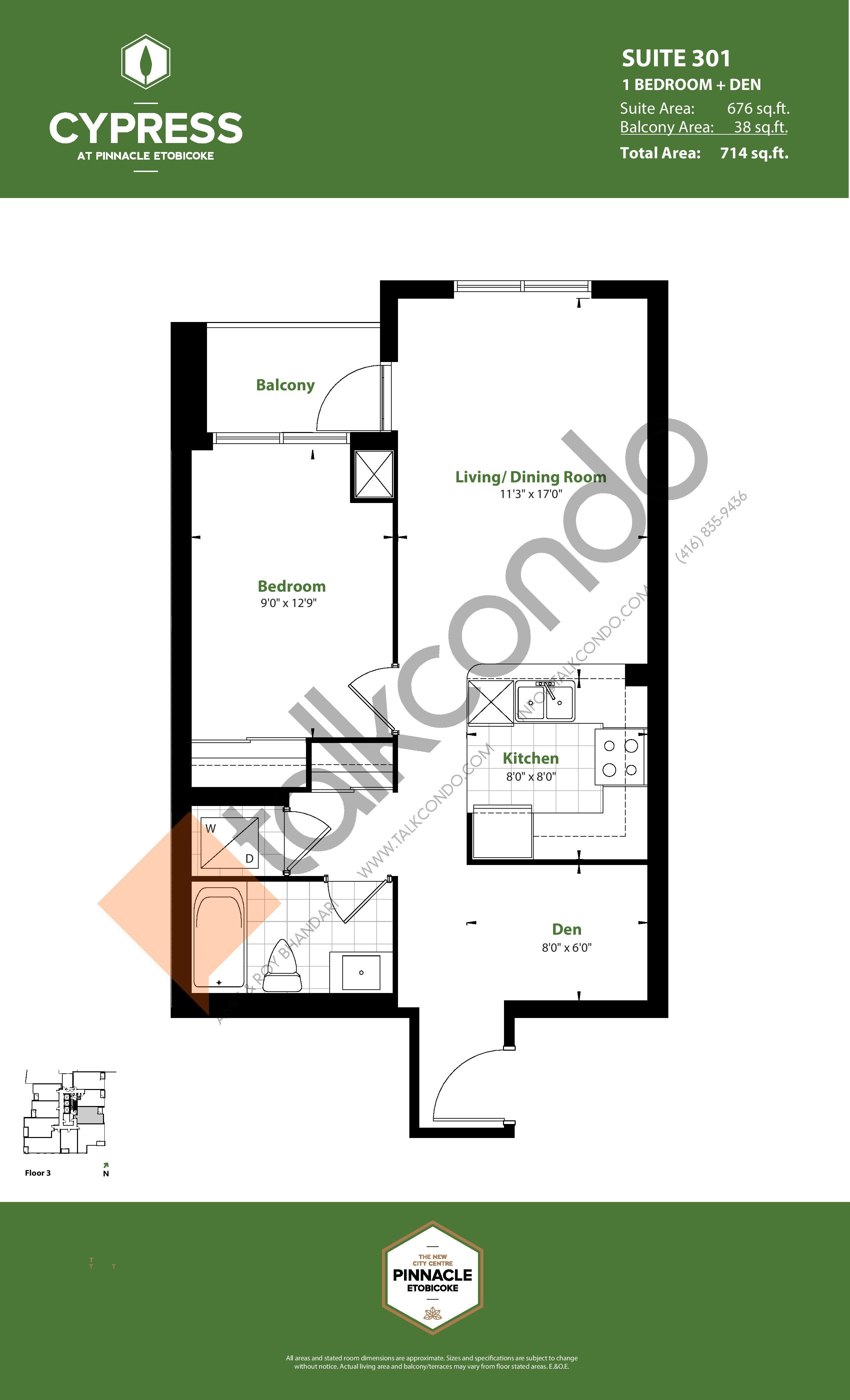 Suite 301 Floor Plan at Cypress at Pinnacle Etobicoke - 676 sq.ft