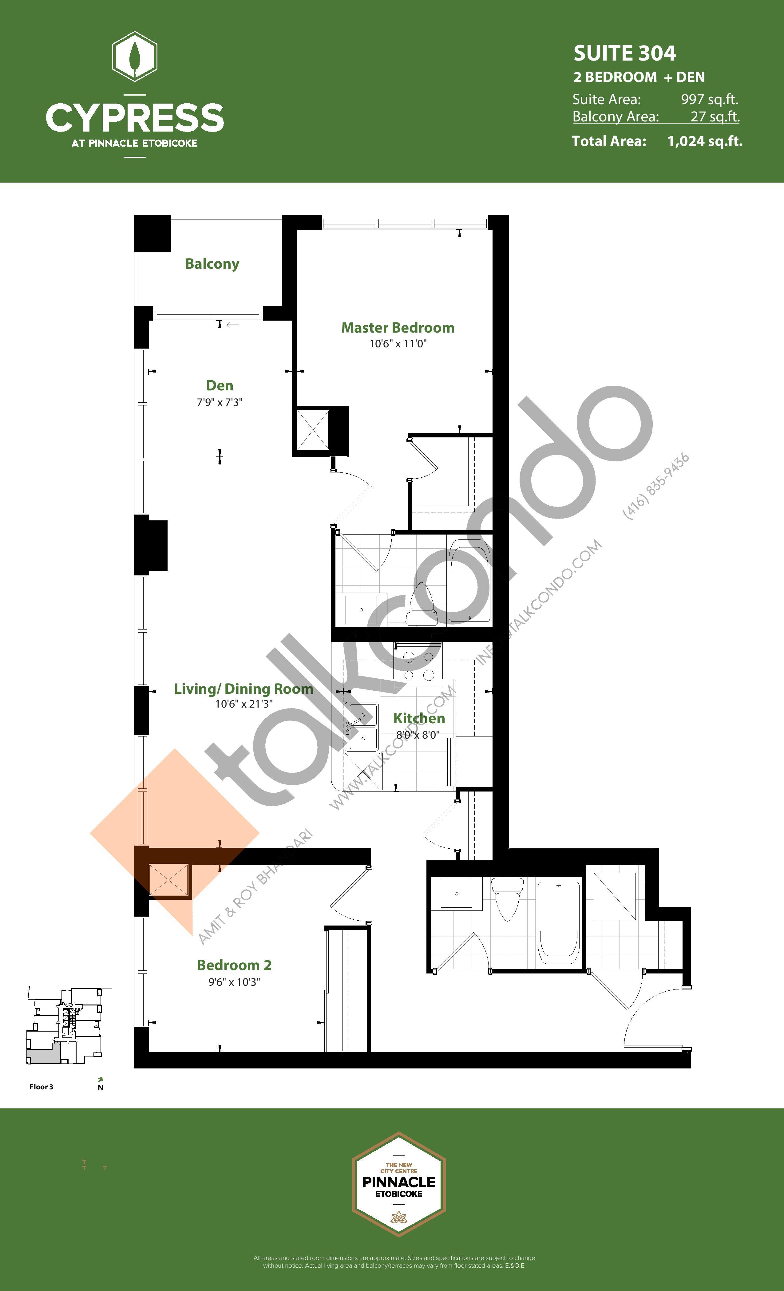 Suite 304 Floor Plan at Cypress at Pinnacle Etobicoke - 997 sq.ft