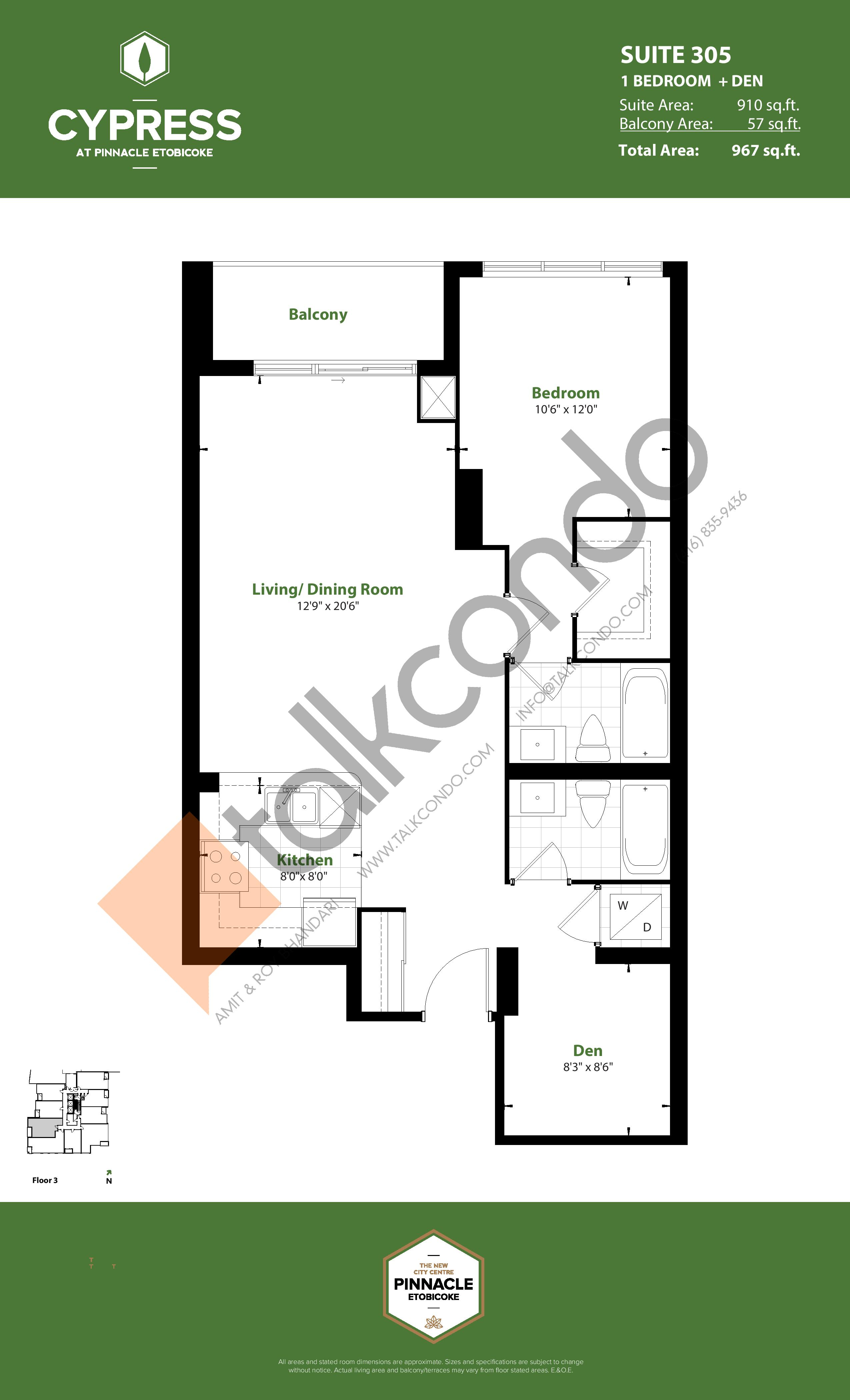 Suite 305 Floor Plan at Cypress at Pinnacle Etobicoke - 910 sq.ft