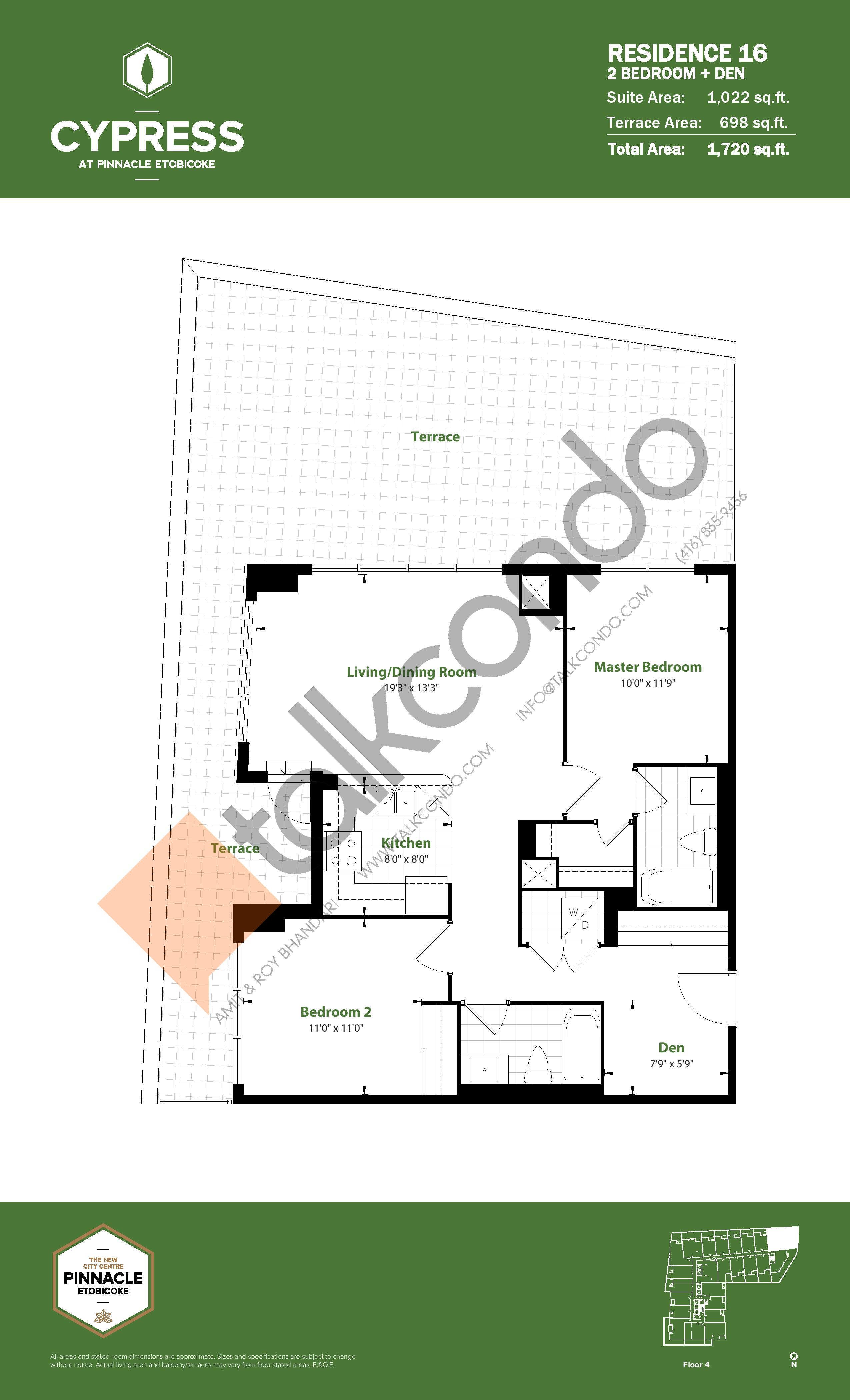 Residence 16 Floor Plan at Cypress at Pinnacle Etobicoke - 1022 sq.ft