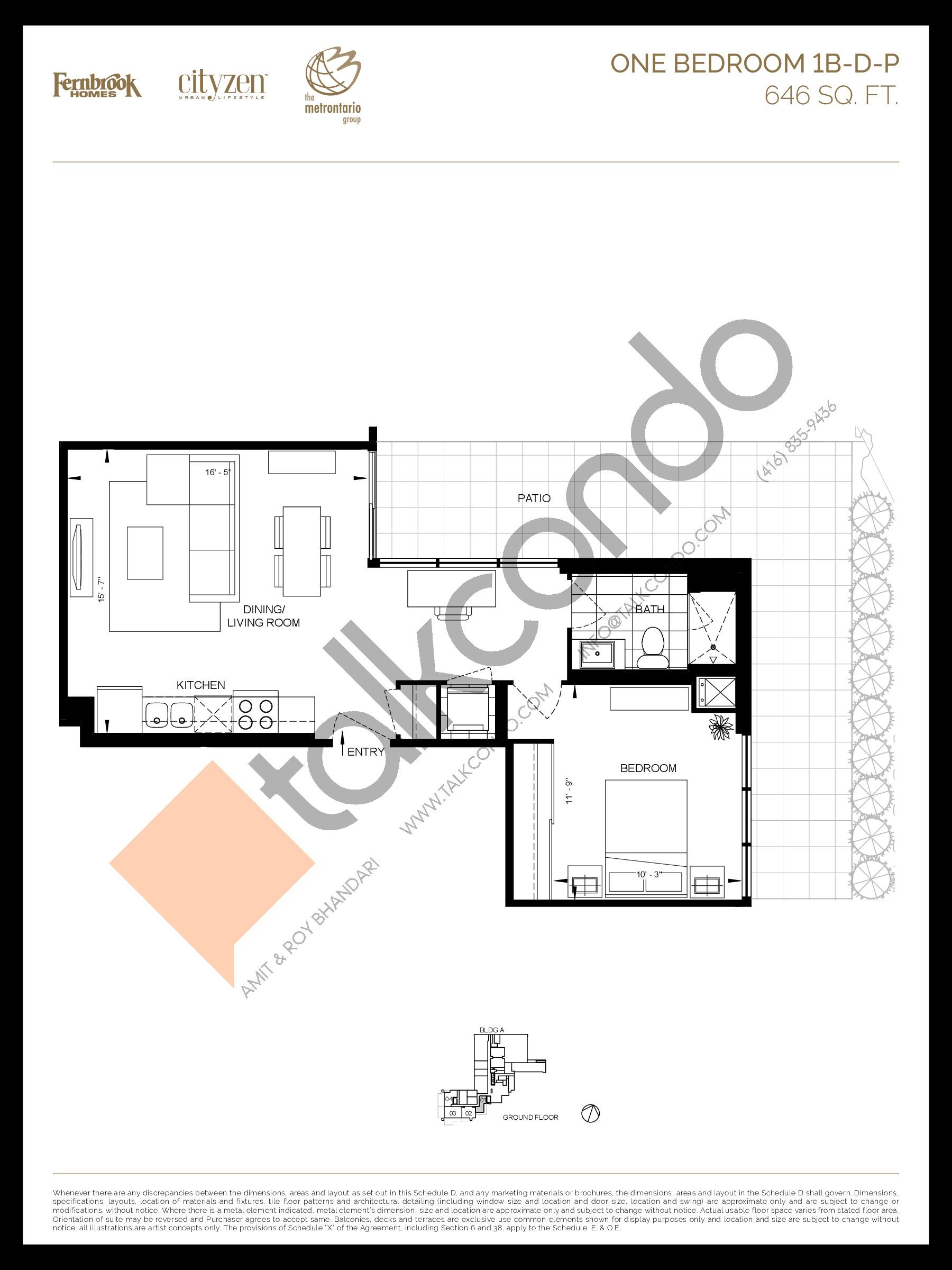 1B-D-P Floor Plan at D'or Condos - 646 sq.ft