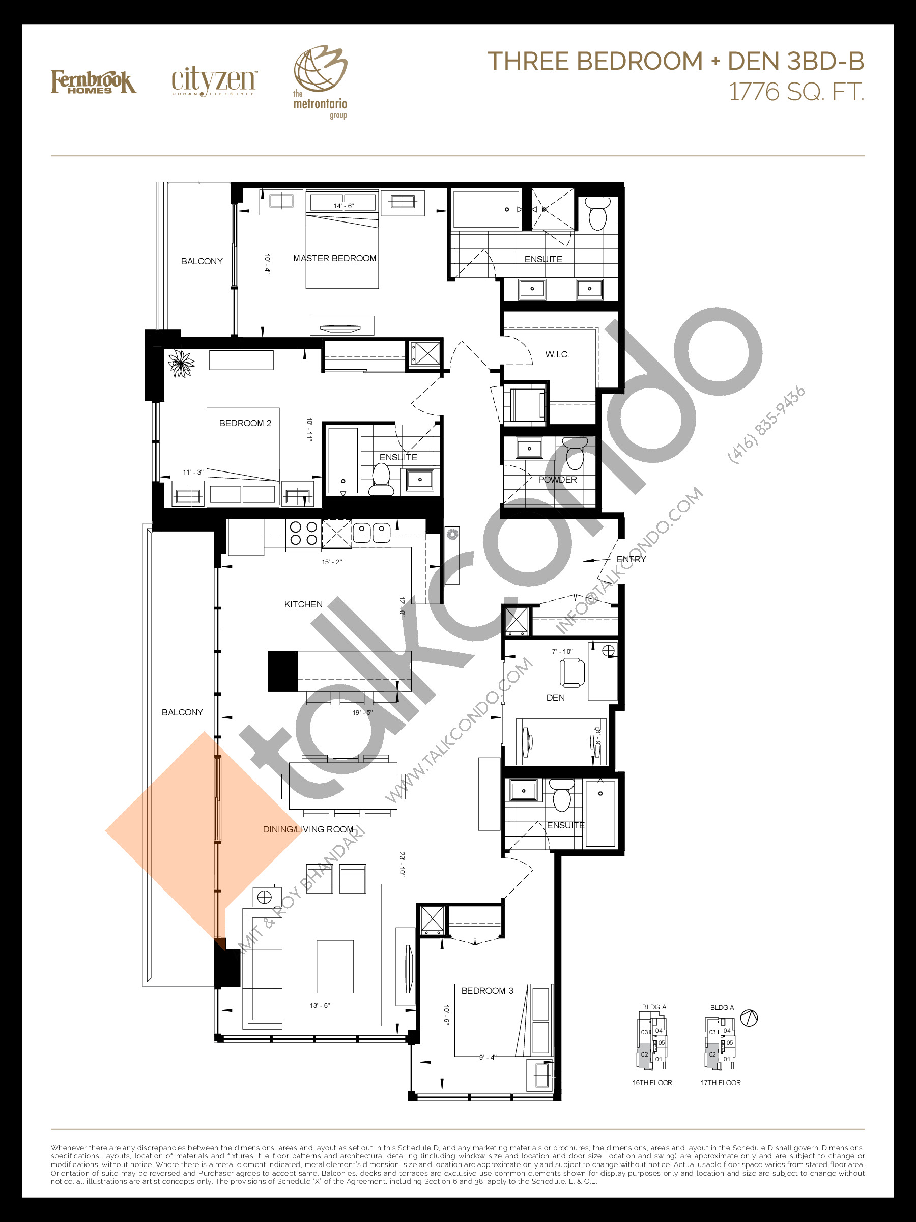 3BD-B Floor Plan at D'or Condos - 1776 sq.ft