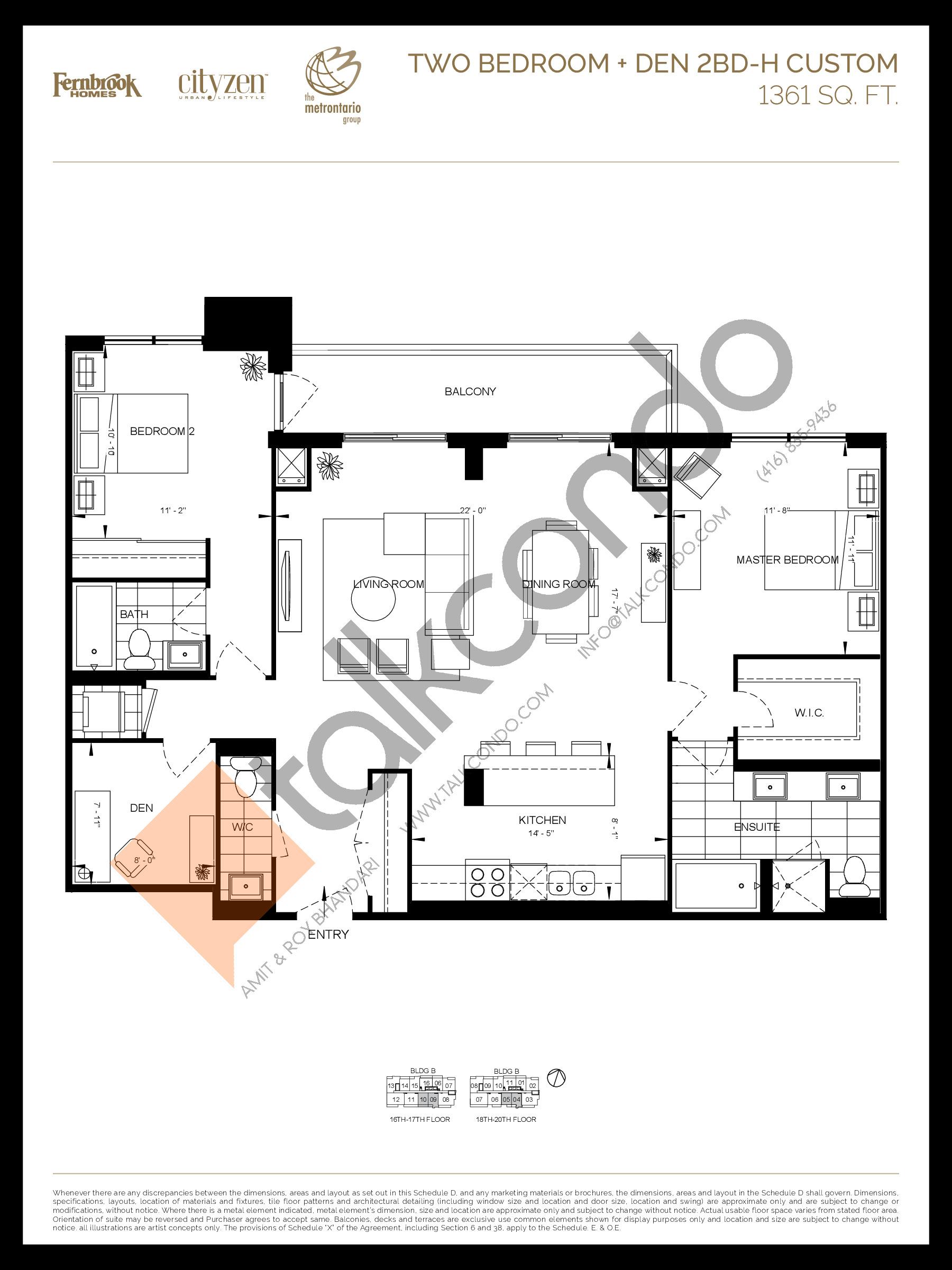 2BD-H Floor Plan at D'or Condos - 1361 sq.ft