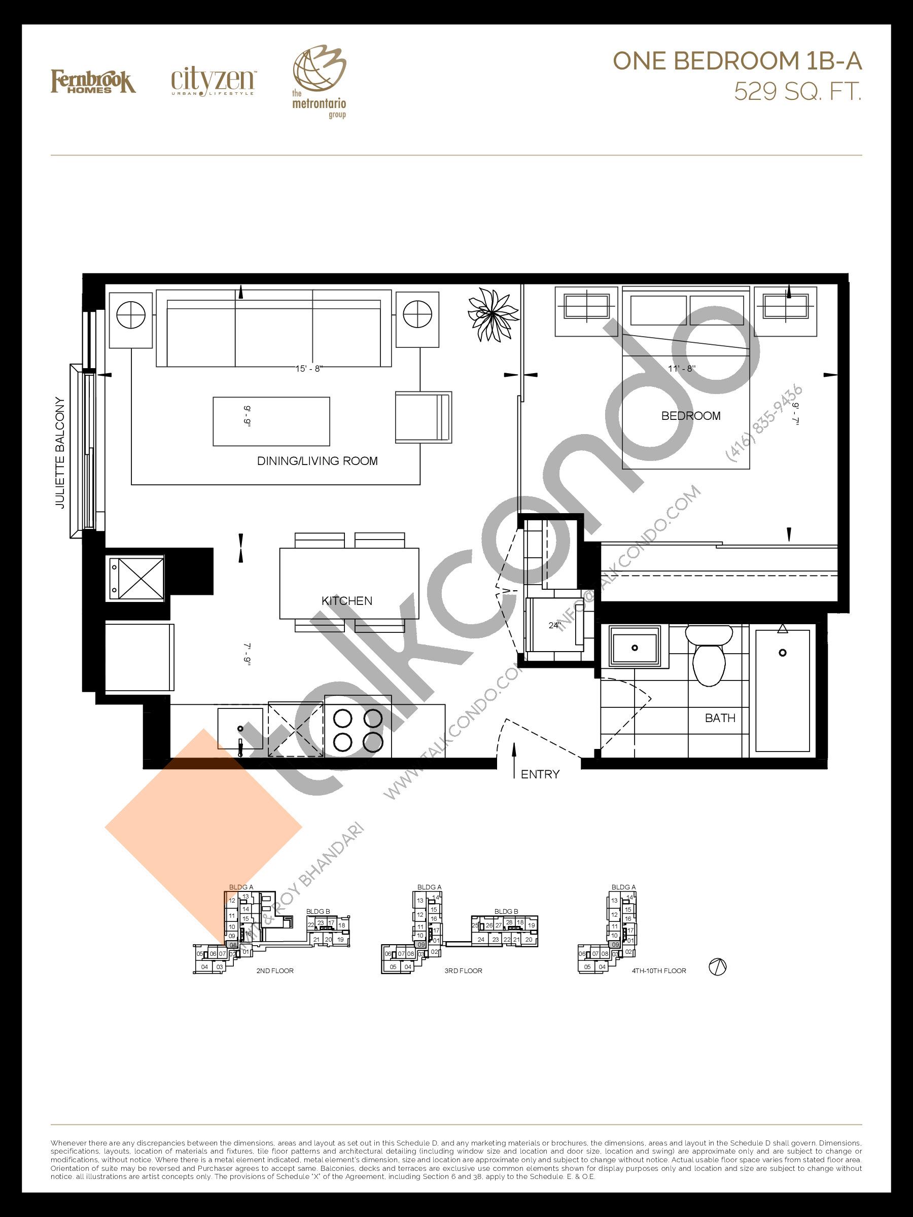 1B-A Floor Plan at D'or Condos - 529 sq.ft