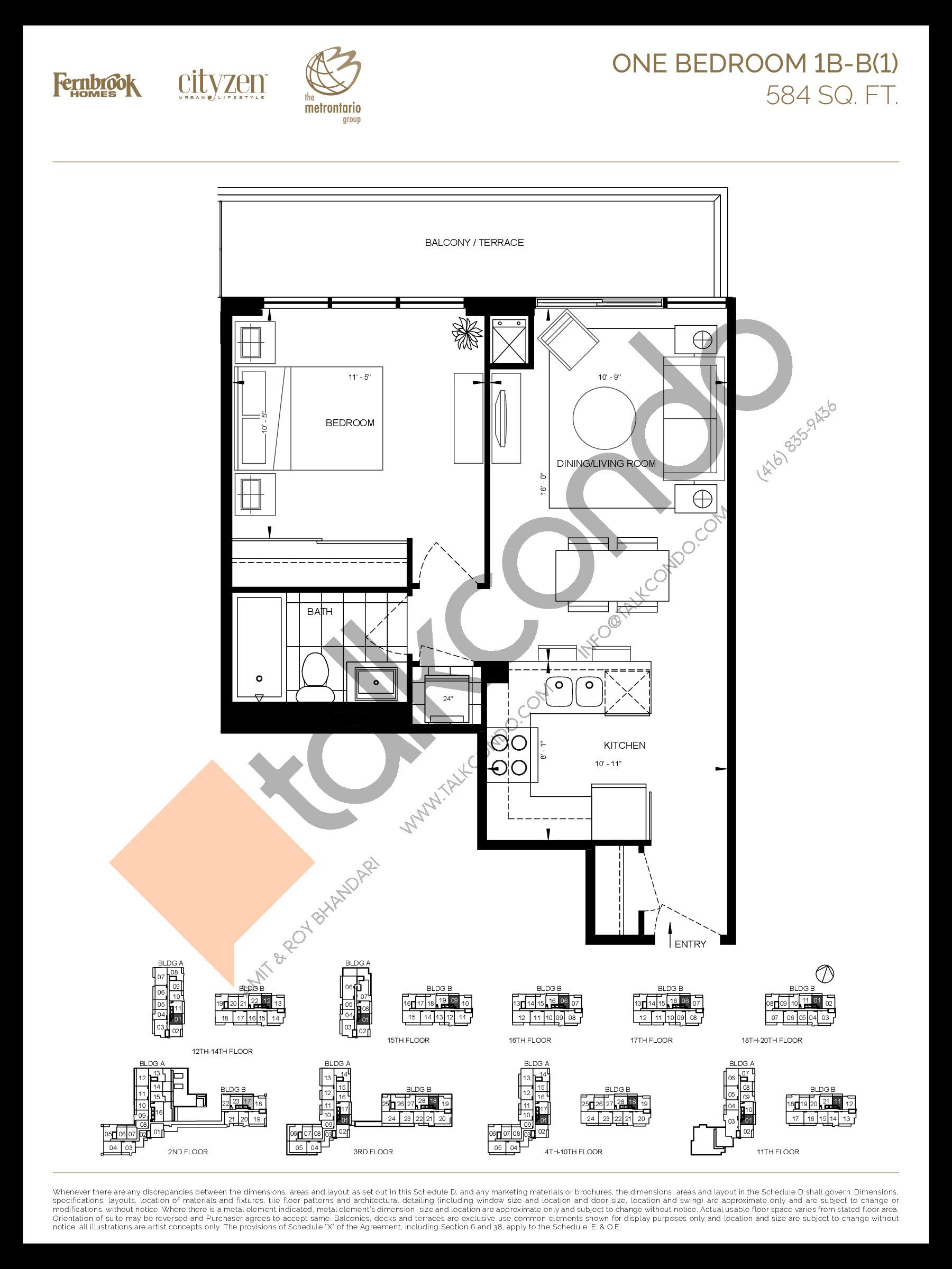 1B-B(1) Floor Plan at D'or Condos - 584 sq.ft
