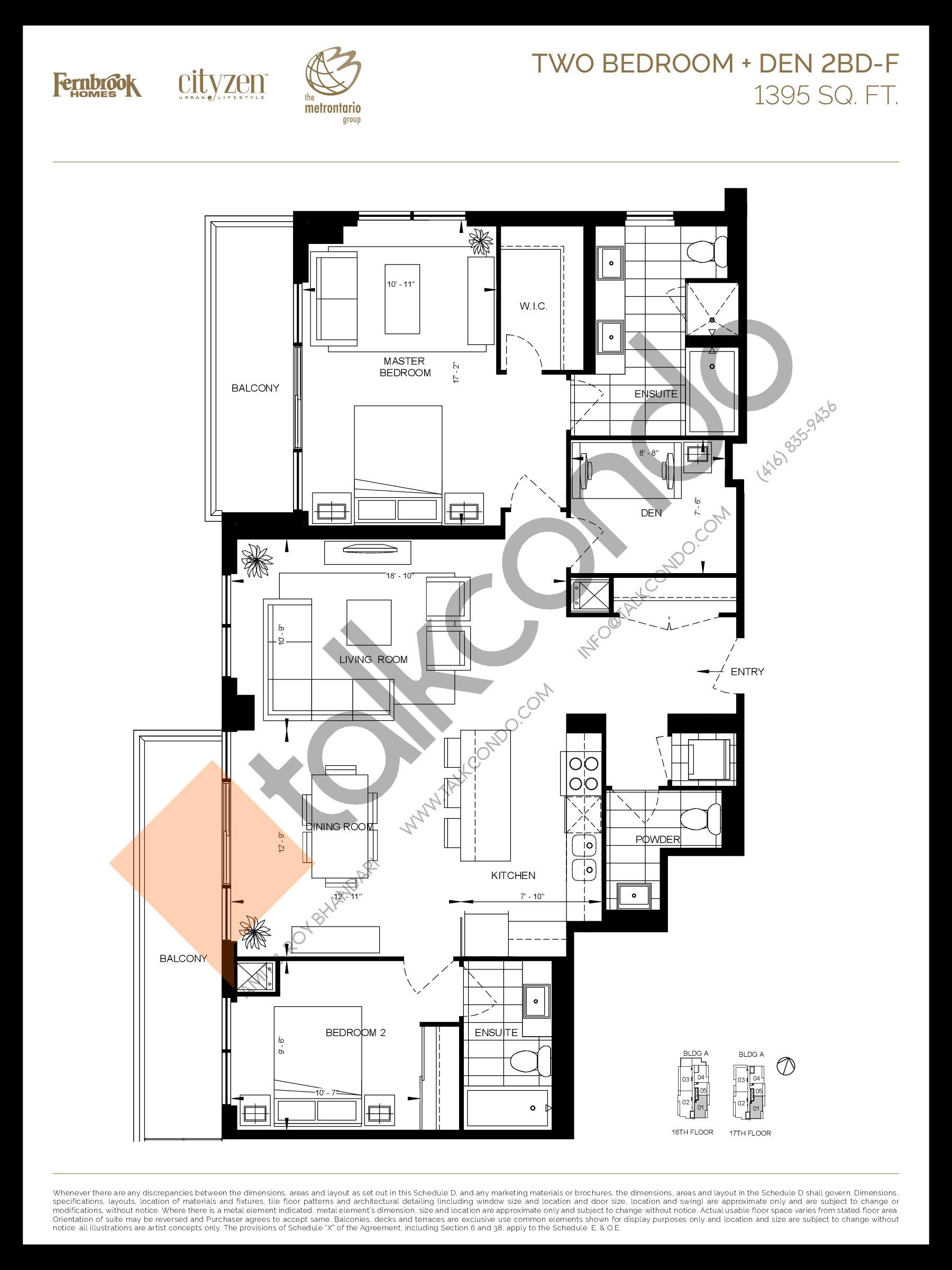 2BD-F Floor Plan at D'or Condos - 1395 sq.ft
