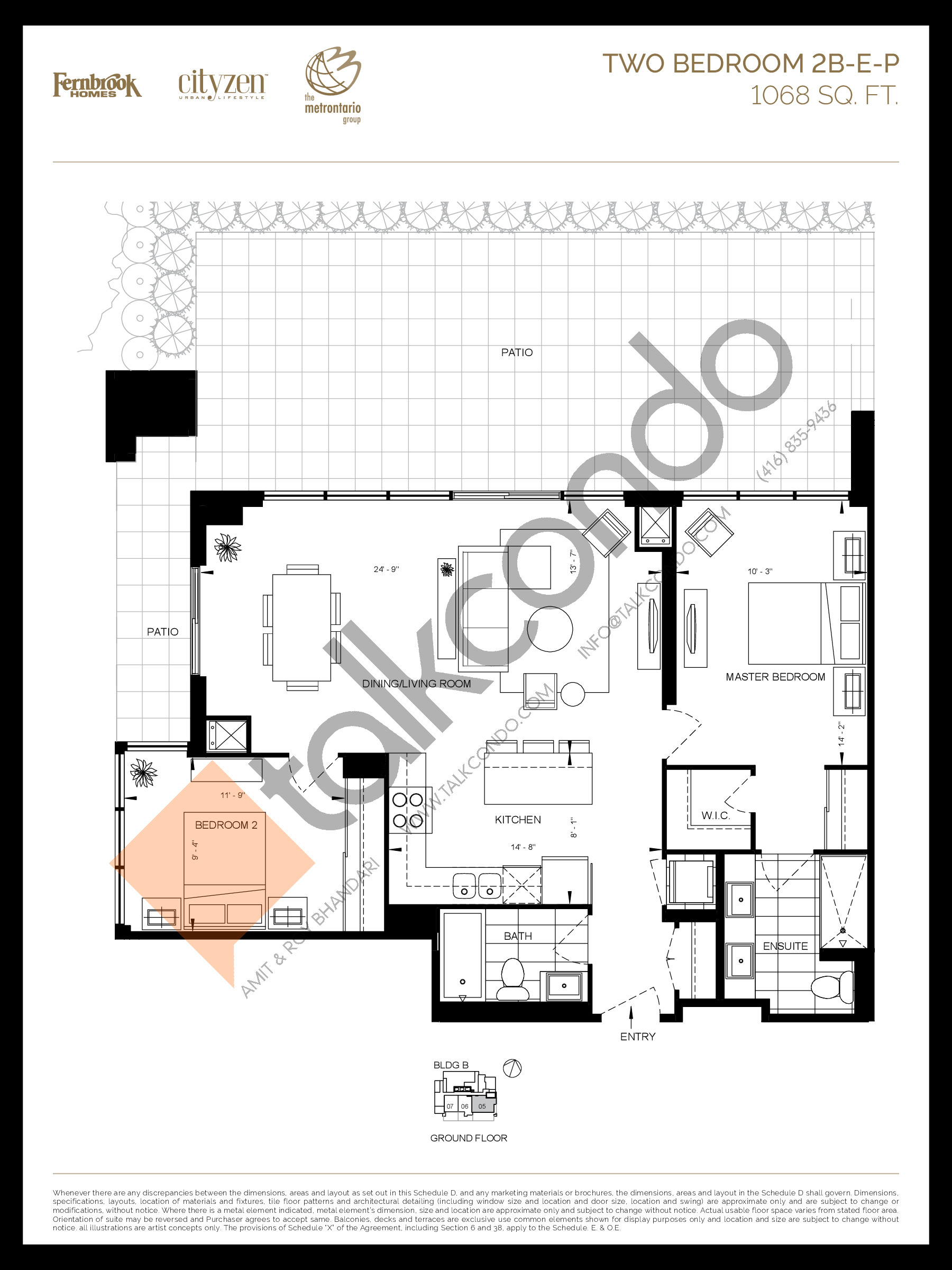 2B-E-P Floor Plan at D'or Condos - 1068 sq.ft