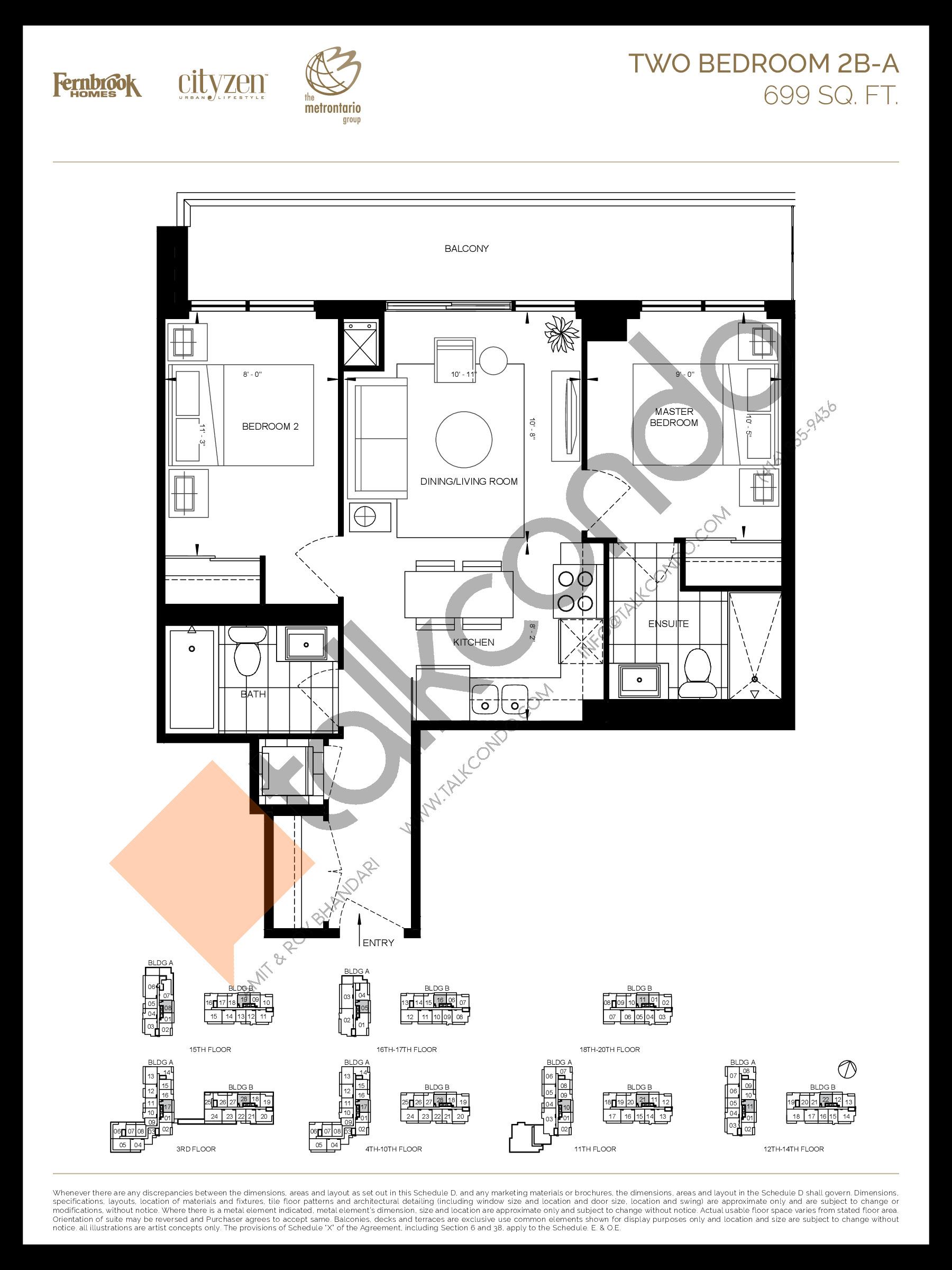 2B-A Floor Plan at D'or Condos - 699 sq.ft