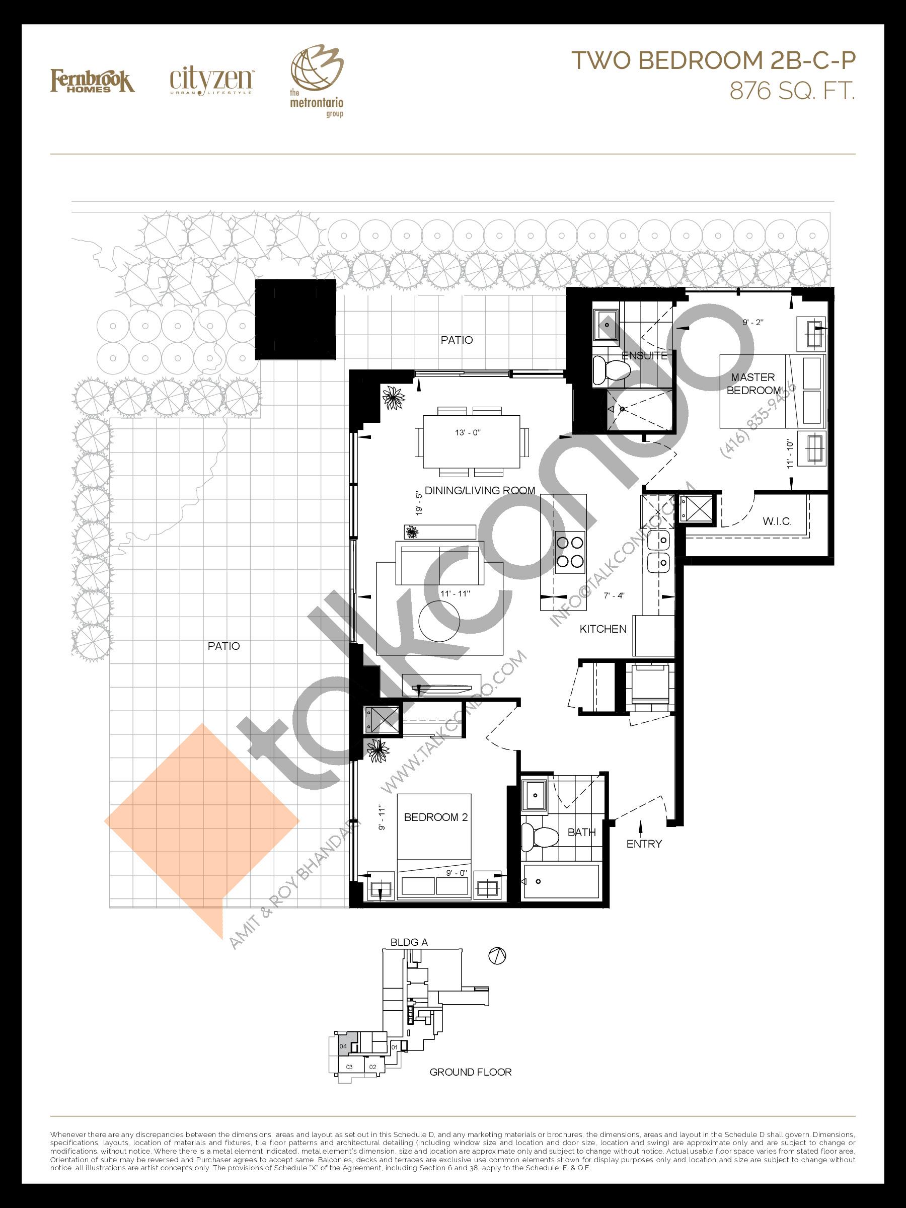 2B-C-P Floor Plan at D'or Condos - 876 sq.ft