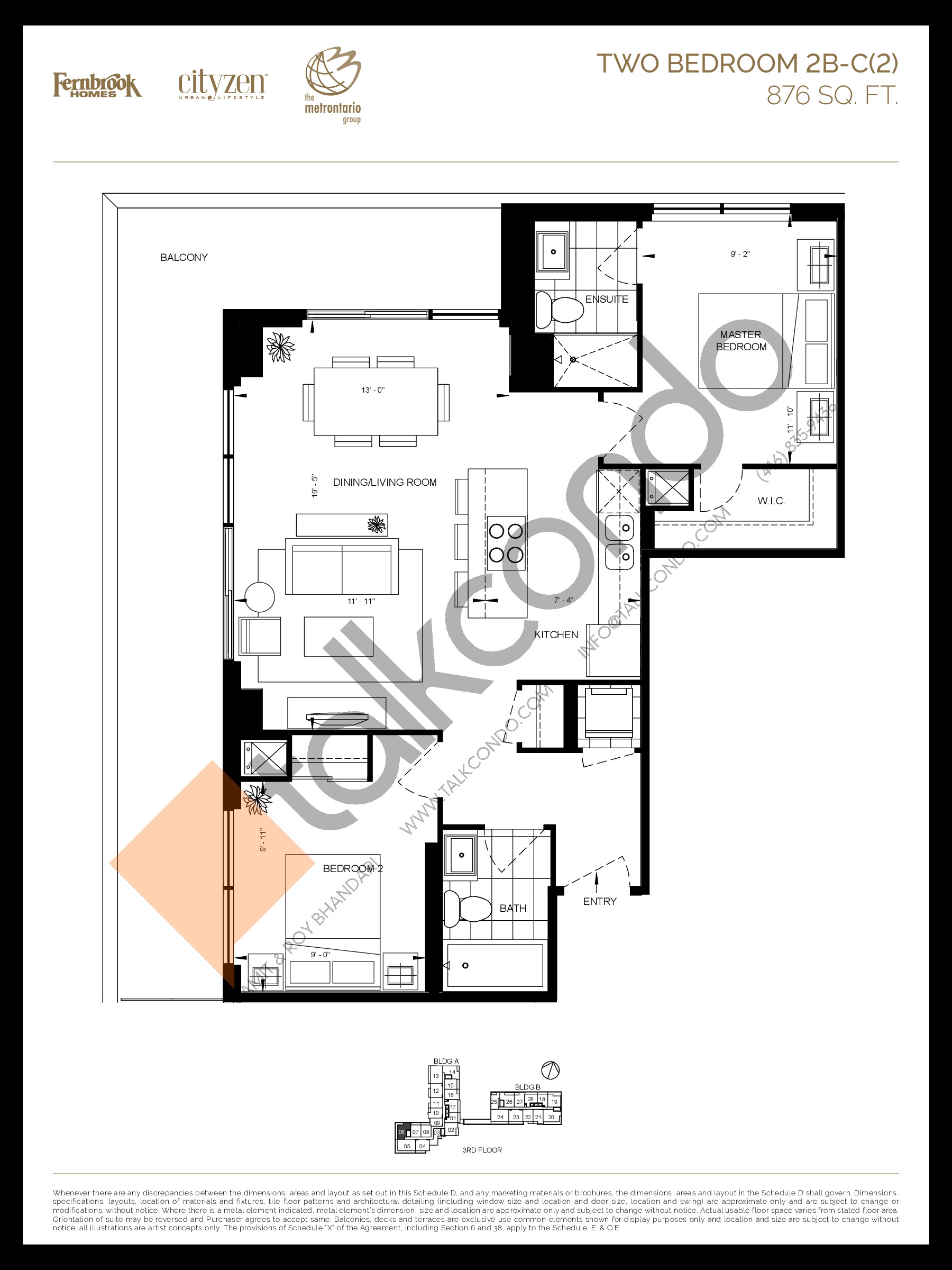 2B-C(2) Floor Plan at D'or Condos - 876 sq.ft