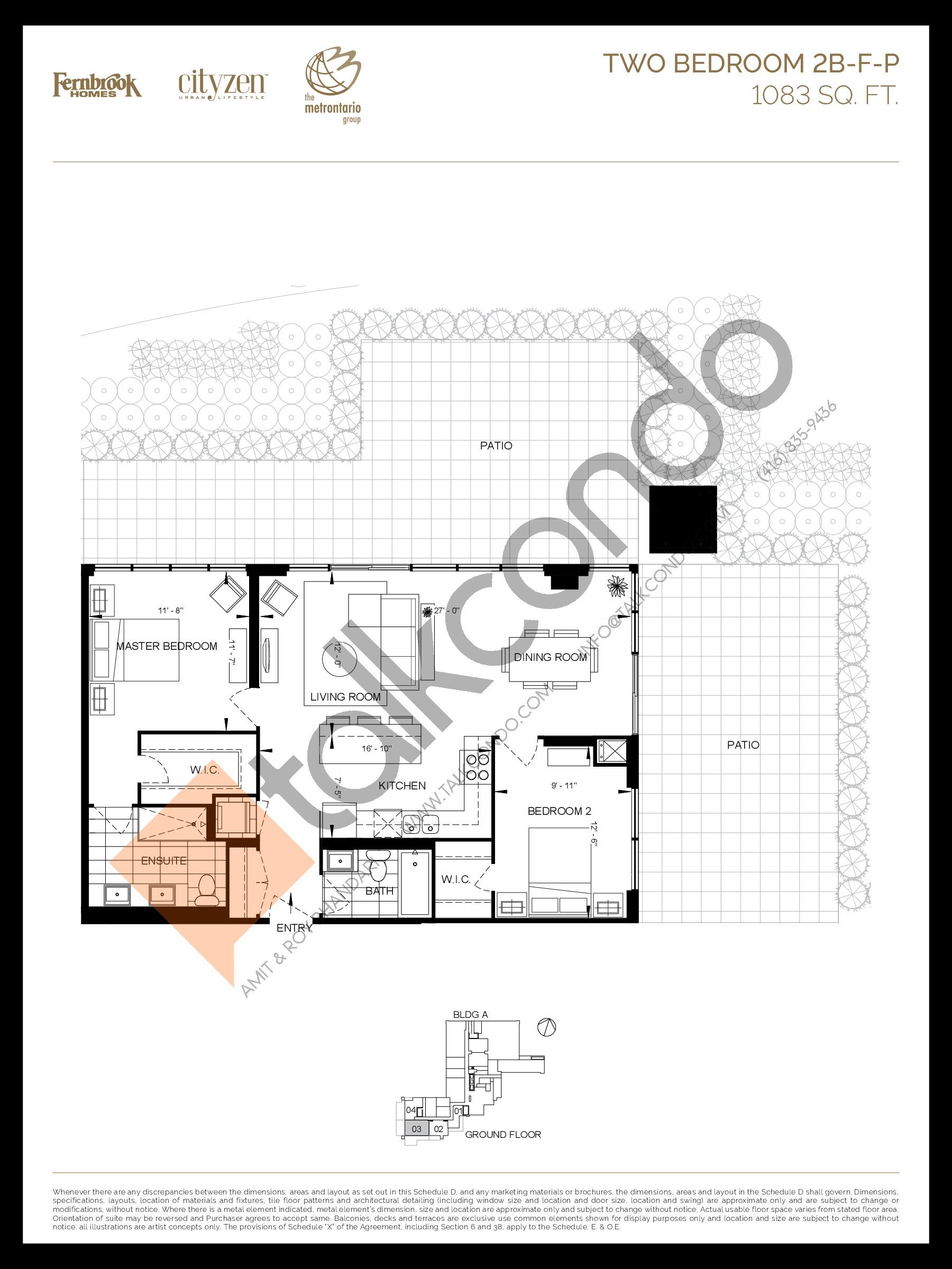 2B-F-P Floor Plan at D'or Condos - 1083 sq.ft