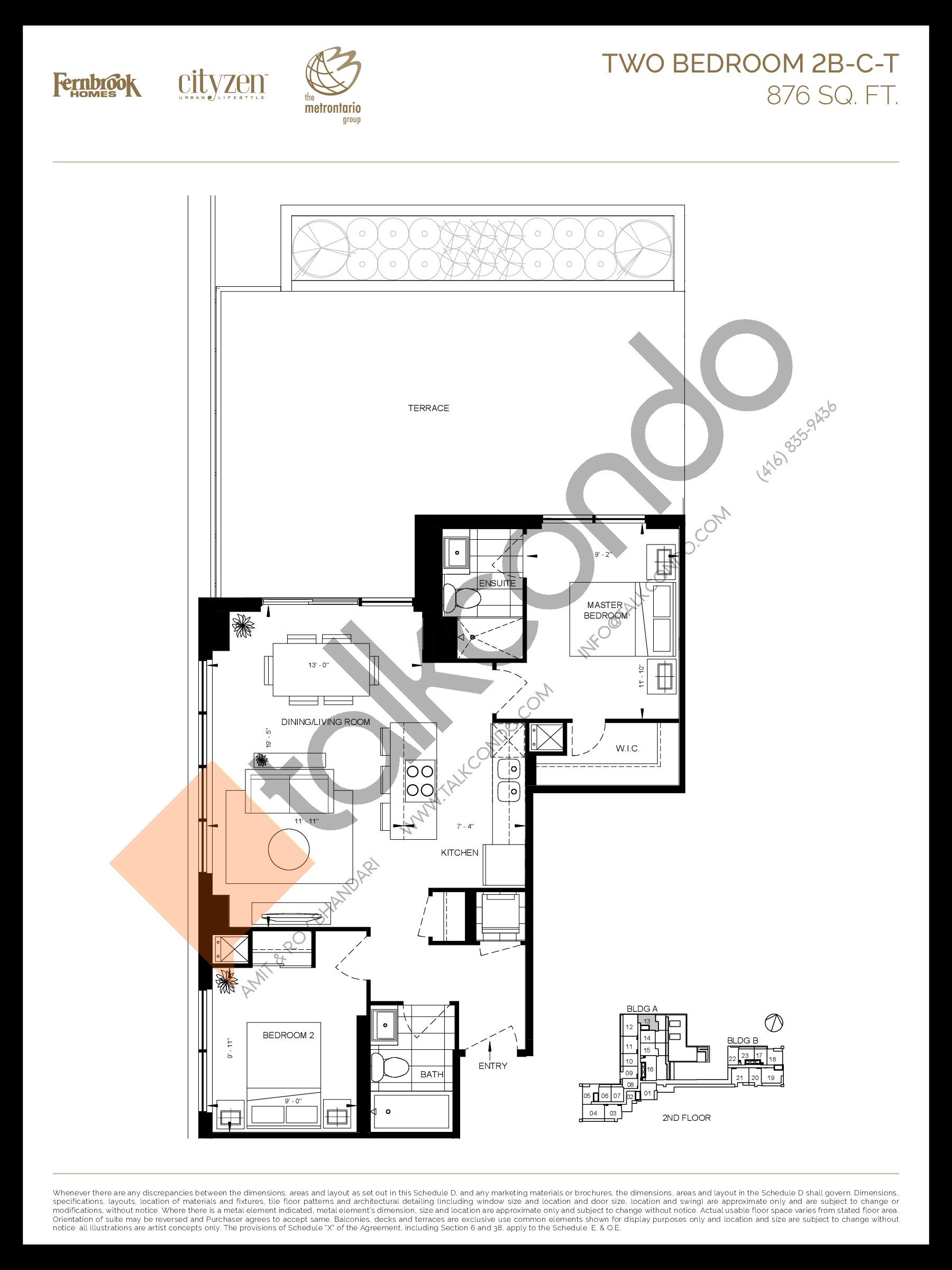 2B-C-T Floor Plan at D'or Condos - 876 sq.ft