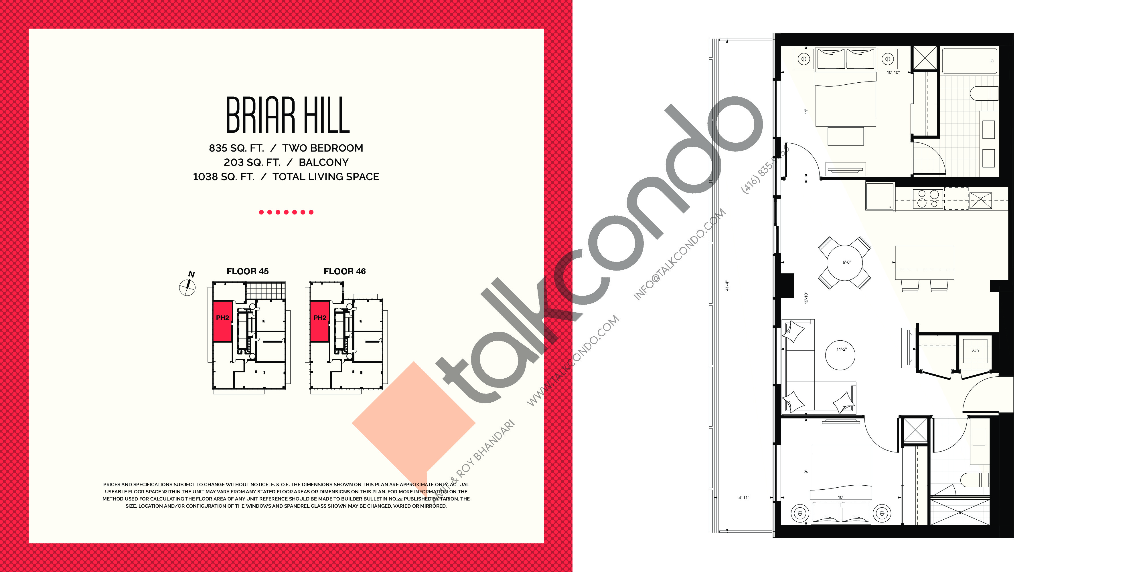 Briar Hill Floor Plan at E2 Condos - 835 sq.ft