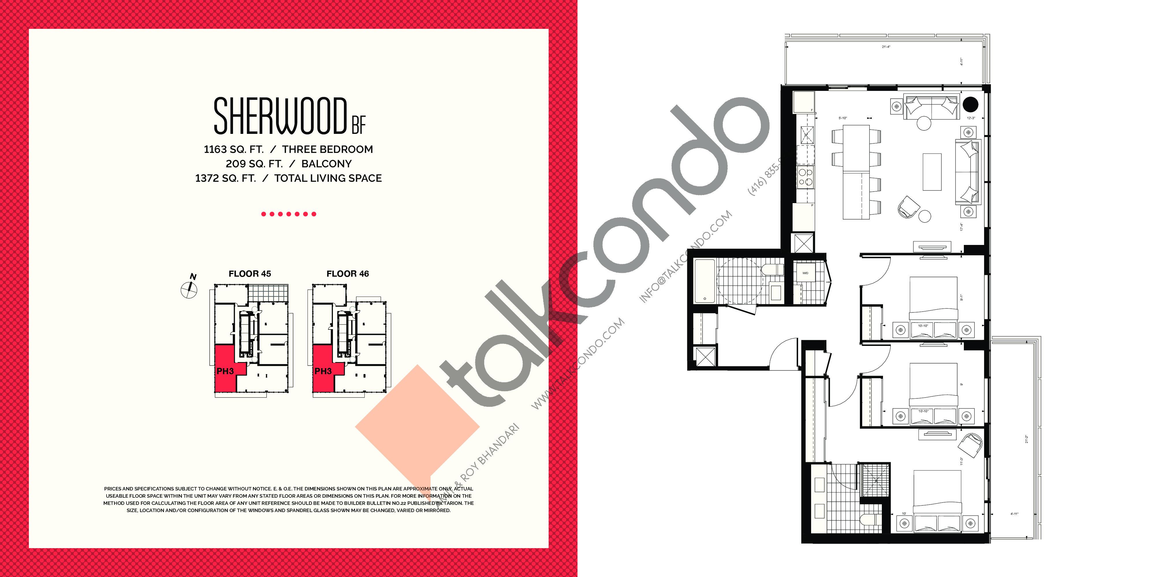 Sherwood BF Floor Plan at E2 Condos - 1163 sq.ft