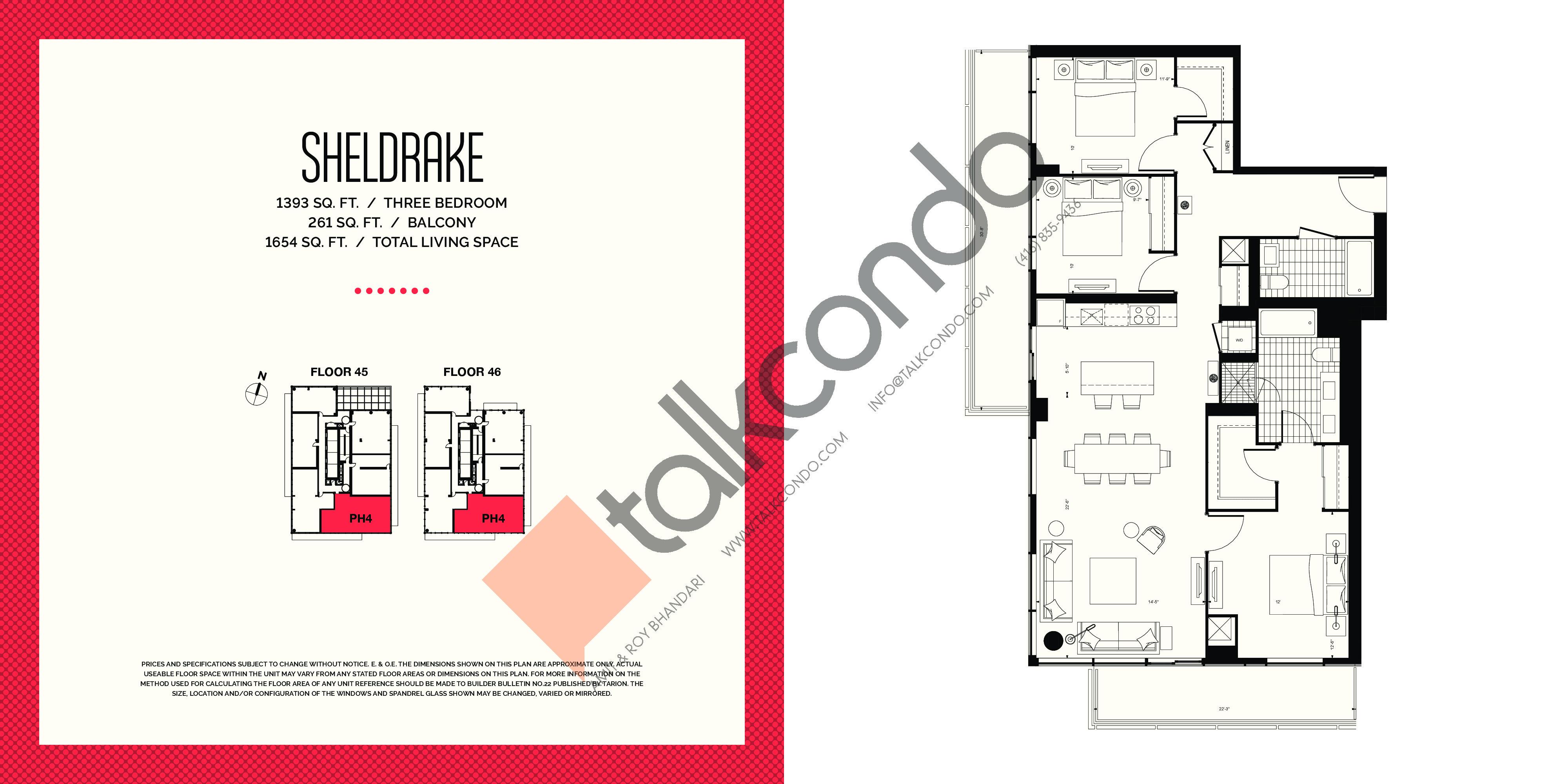 Sheldrake Floor Plan at E2 Condos - 1393 sq.ft