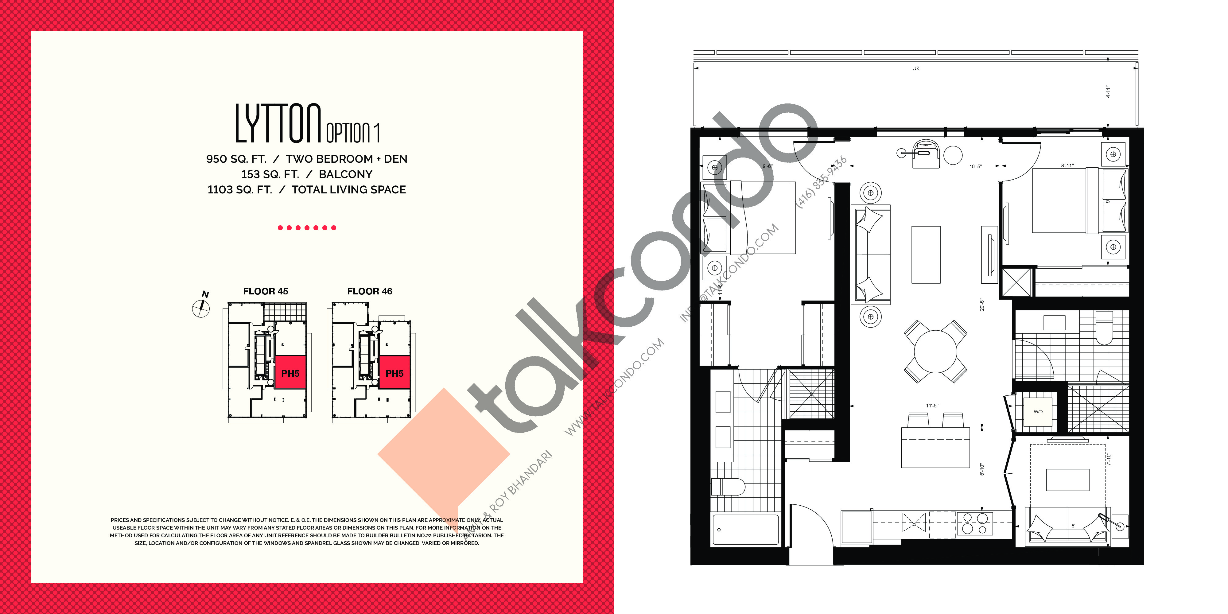 Lytton (Option 1) Floor Plan at E2 Condos - 950 sq.ft