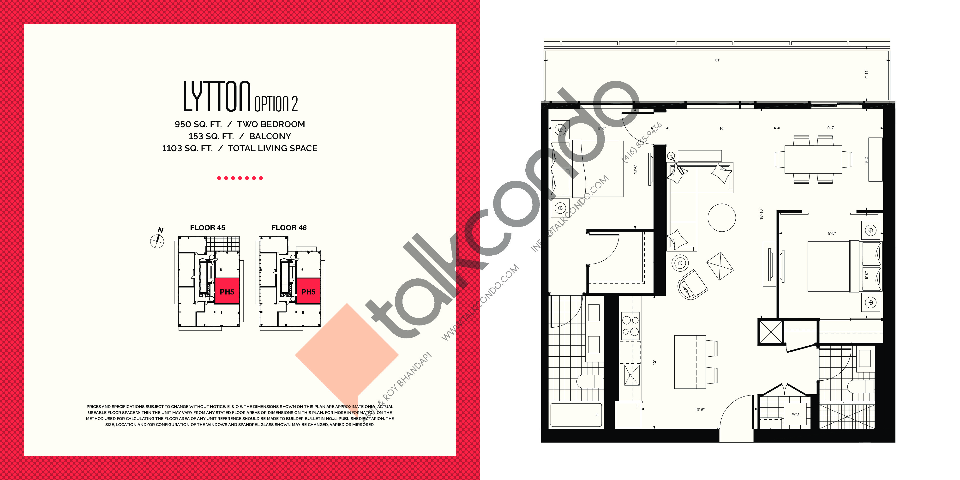 Lytton (Option 2) Floor Plan at E2 Condos - 950 sq.ft